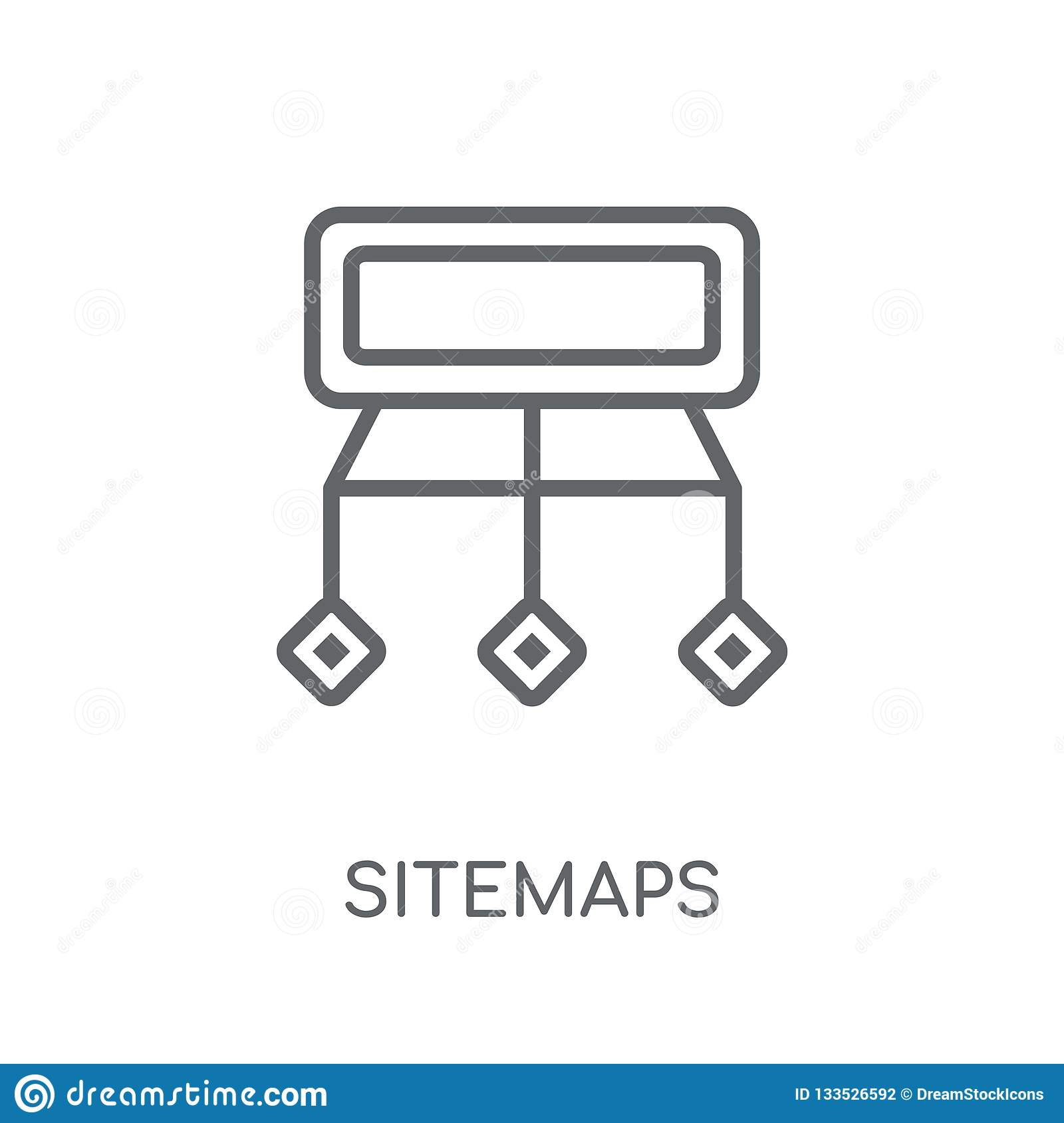 Sitemaps linear icon. Modern outline Sitemaps logo concept on wh