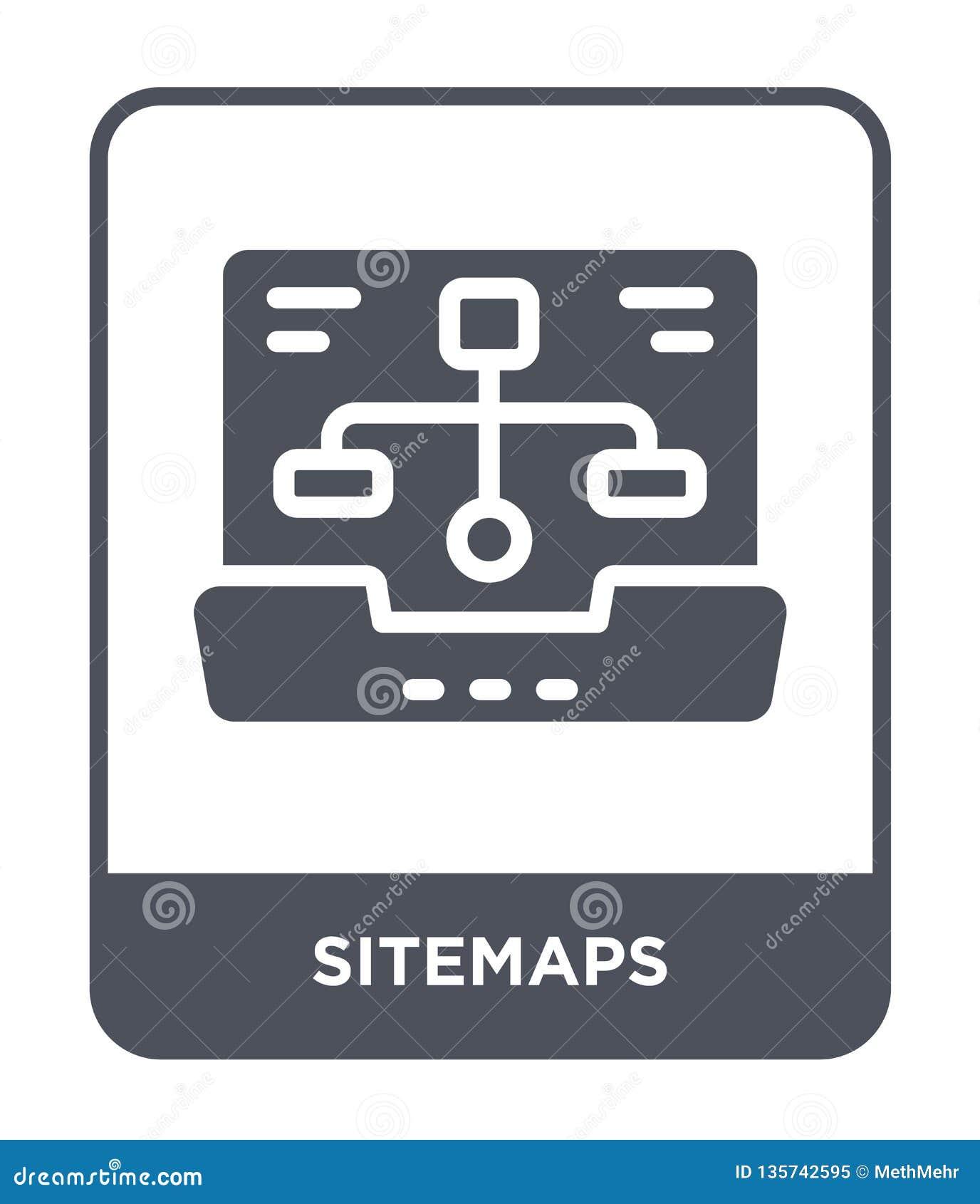 Sitemapssymbol i moderiktig designstil sitemapssymbol som isoleras på vit bakgrund enkel och modern lägenhet för sitemapsvektorsy