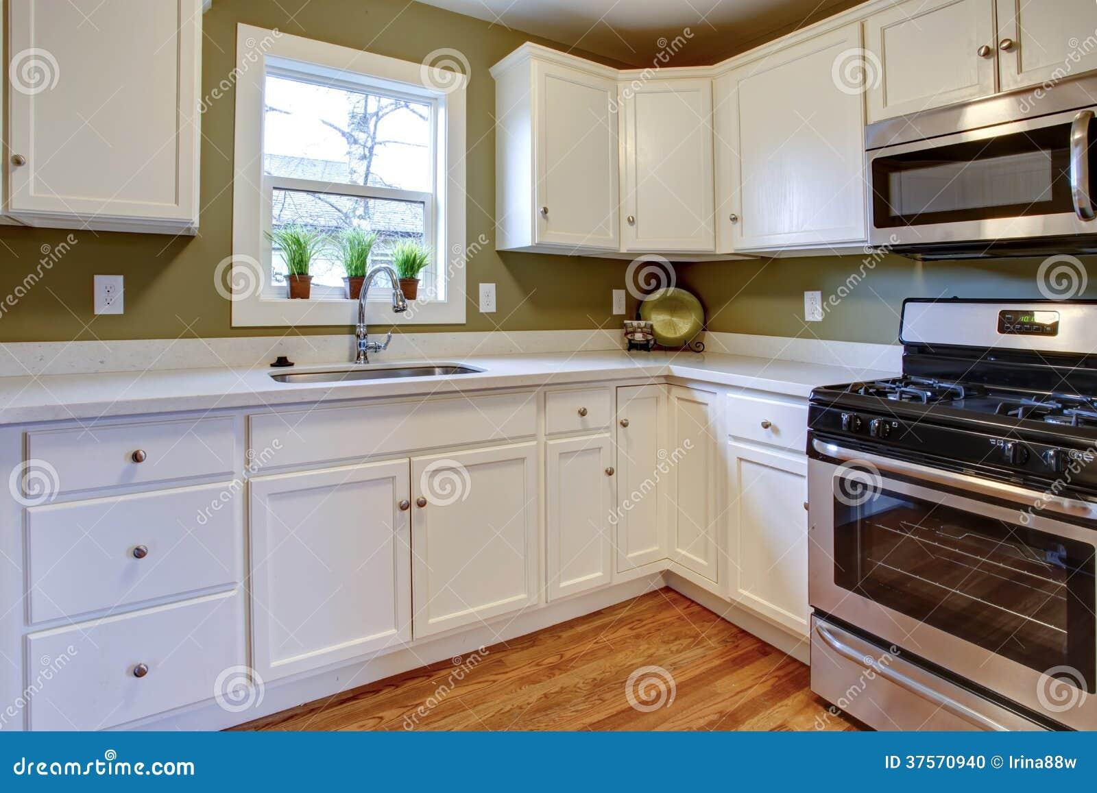Muebles Cocina Verde Oliva : Sitio brillante blanco y verde oliva de la cocina foto