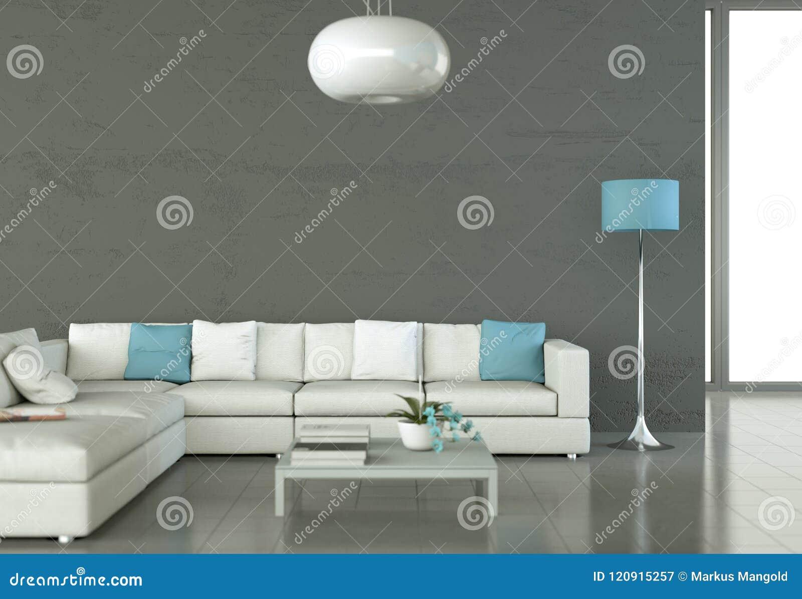 Sitio brillante moderno del diseño interior con el sofá blanco