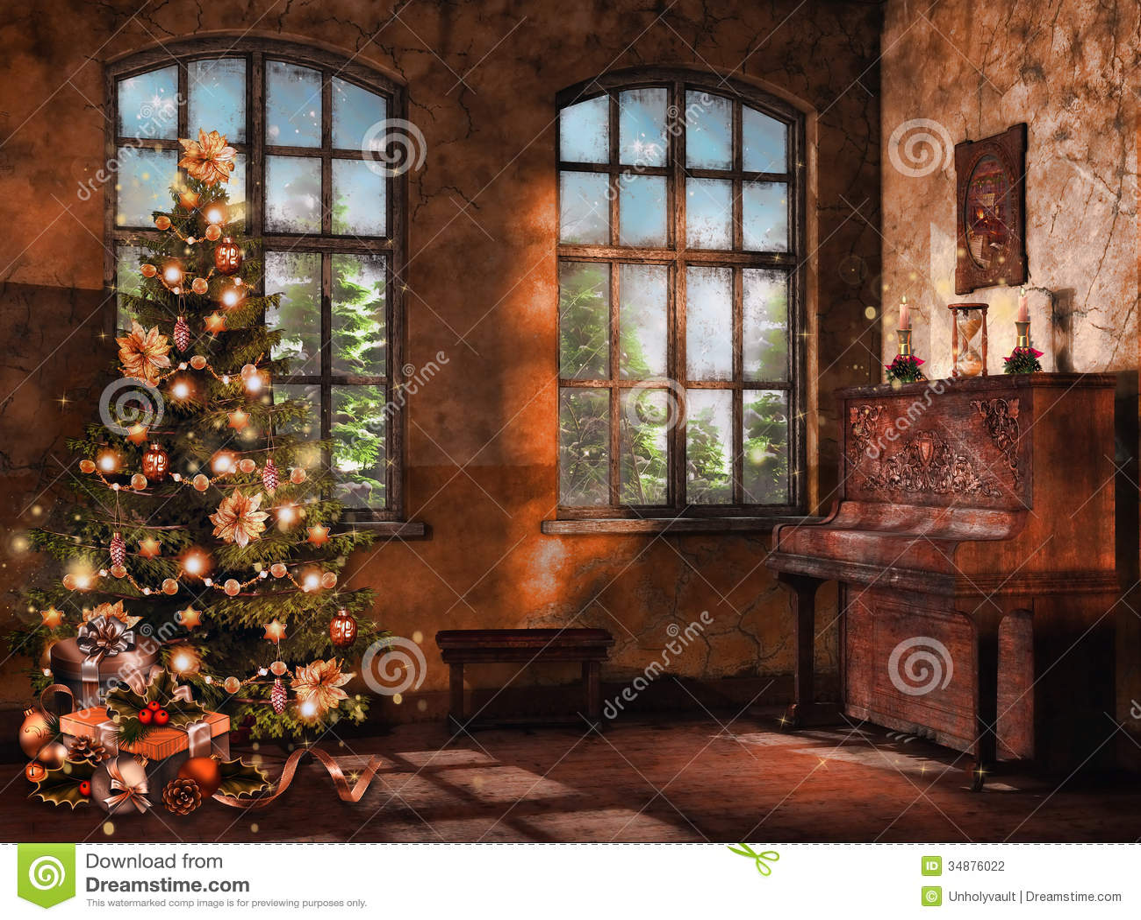 Sitio con un piano y un árbol de navidad