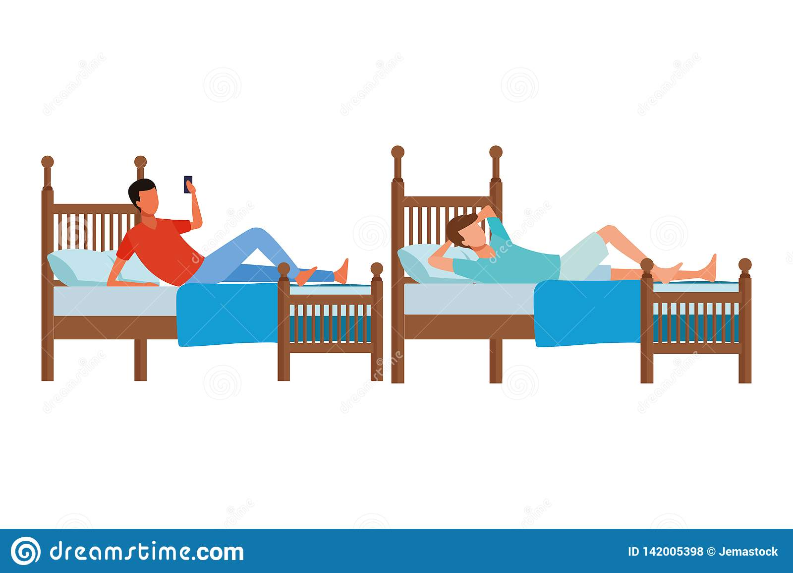 Sitio de la cama individual y gente anónima