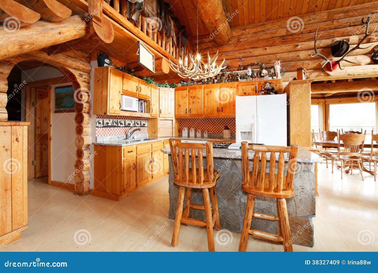 Sitio de la cocina en casa de la caba a de madera imagen for La cocina en casa