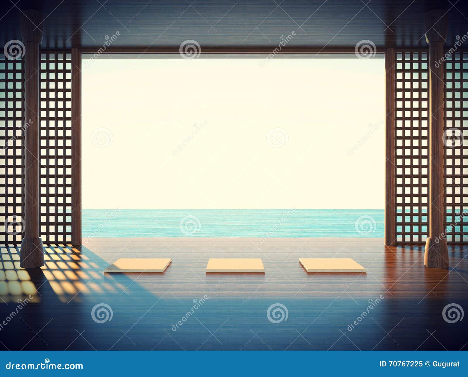 Sitio de la yoga del zen en el espacio de las zonas costeras