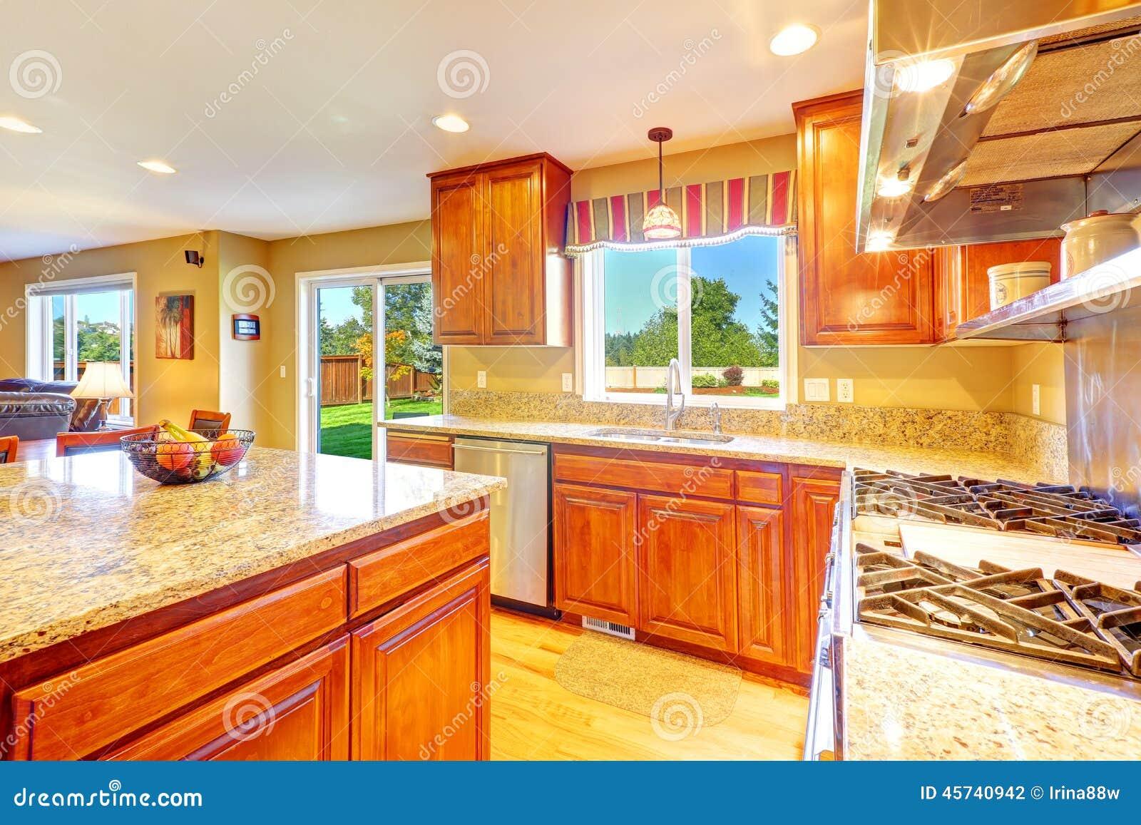 Sitio de lujo brillante de la cocina con la salida al for Cocinas con salida al patio