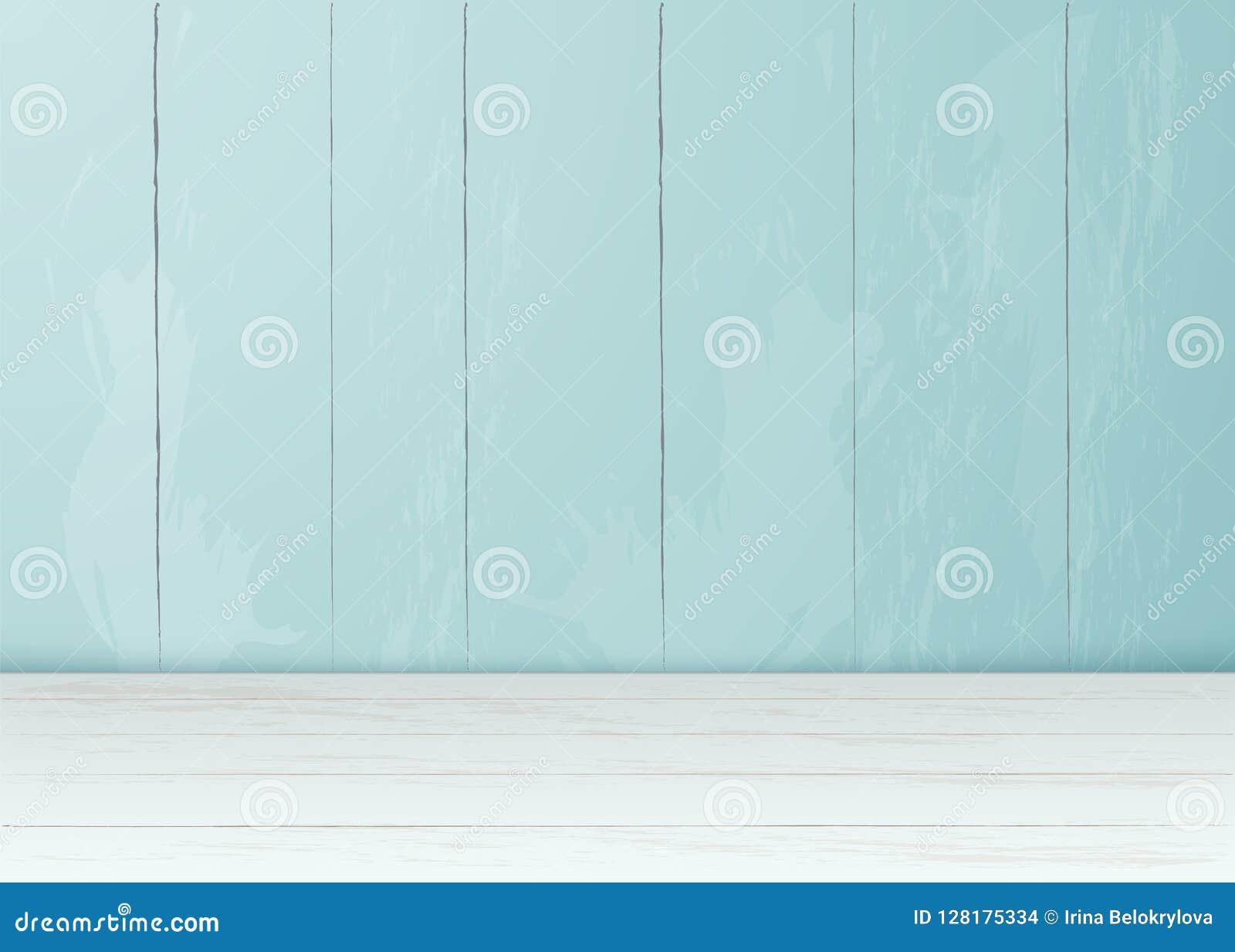 Sitio de madera del piso de la pared de ladrillo realista del vector
