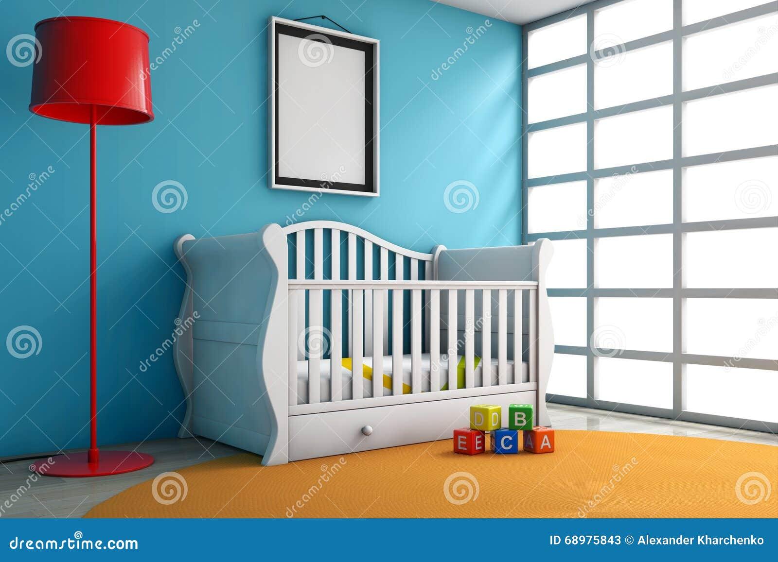 Sitio de niños con la cama, la lámpara y el marco en blanco de la foto