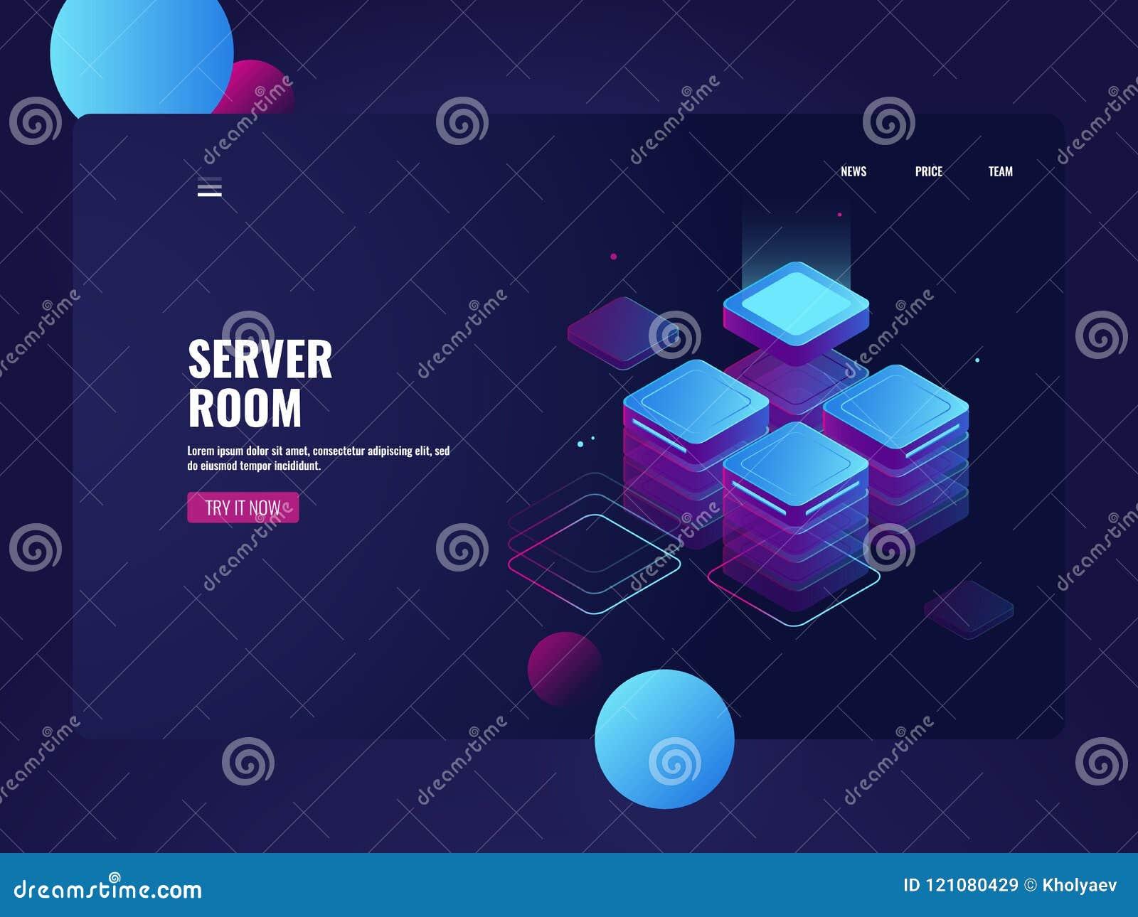 Sitio de servidor de red y vector isométrico del datacenter, almacenamiento de datos de la nube, procesando datos grandes, objeto