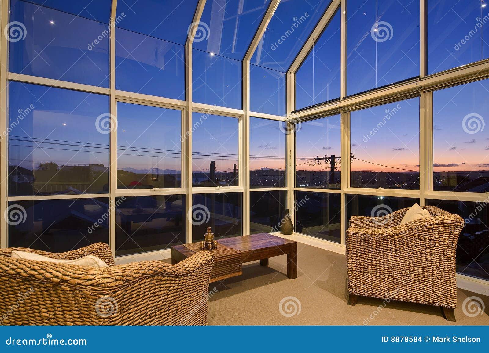 Sitio de sol de cristal interior