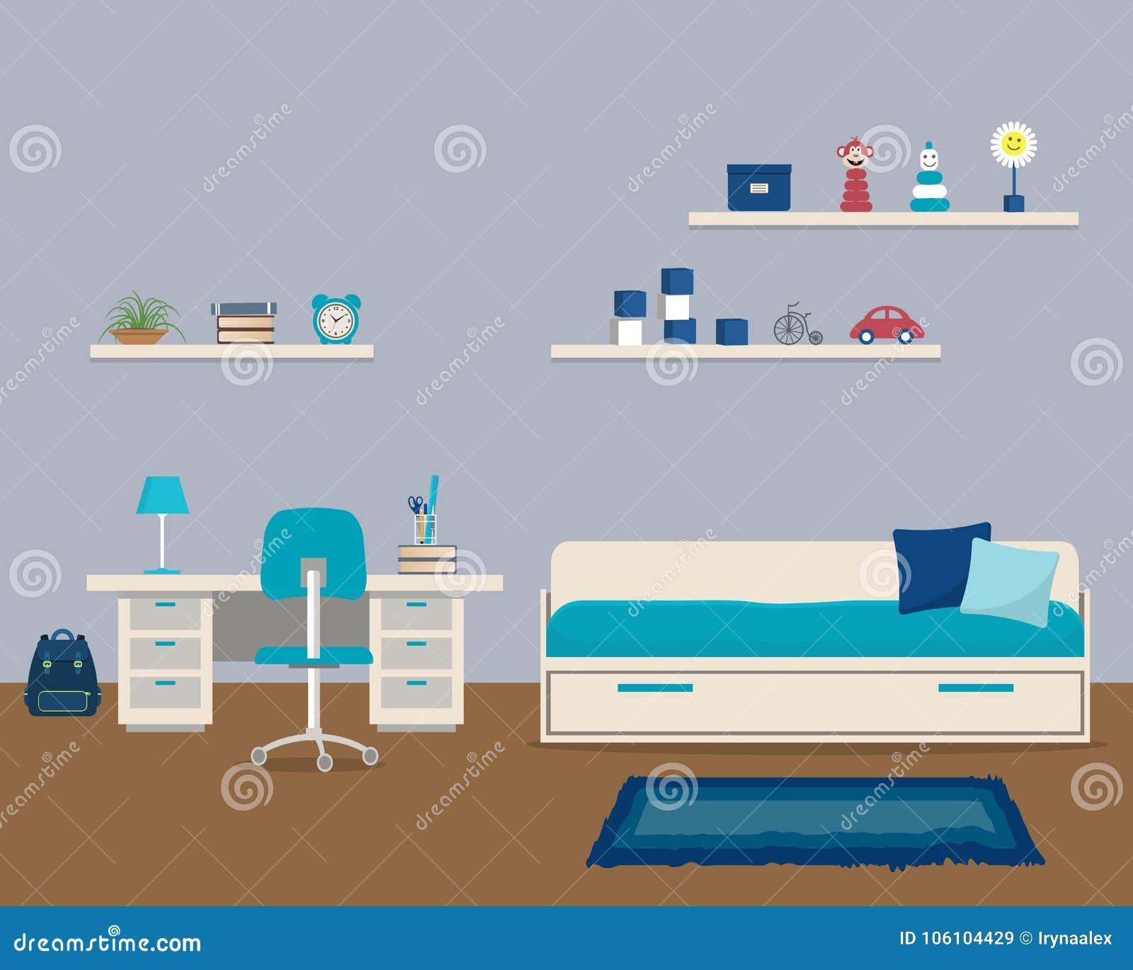 Sitio del ` de los niños en un color azul con la cama y el escritorio