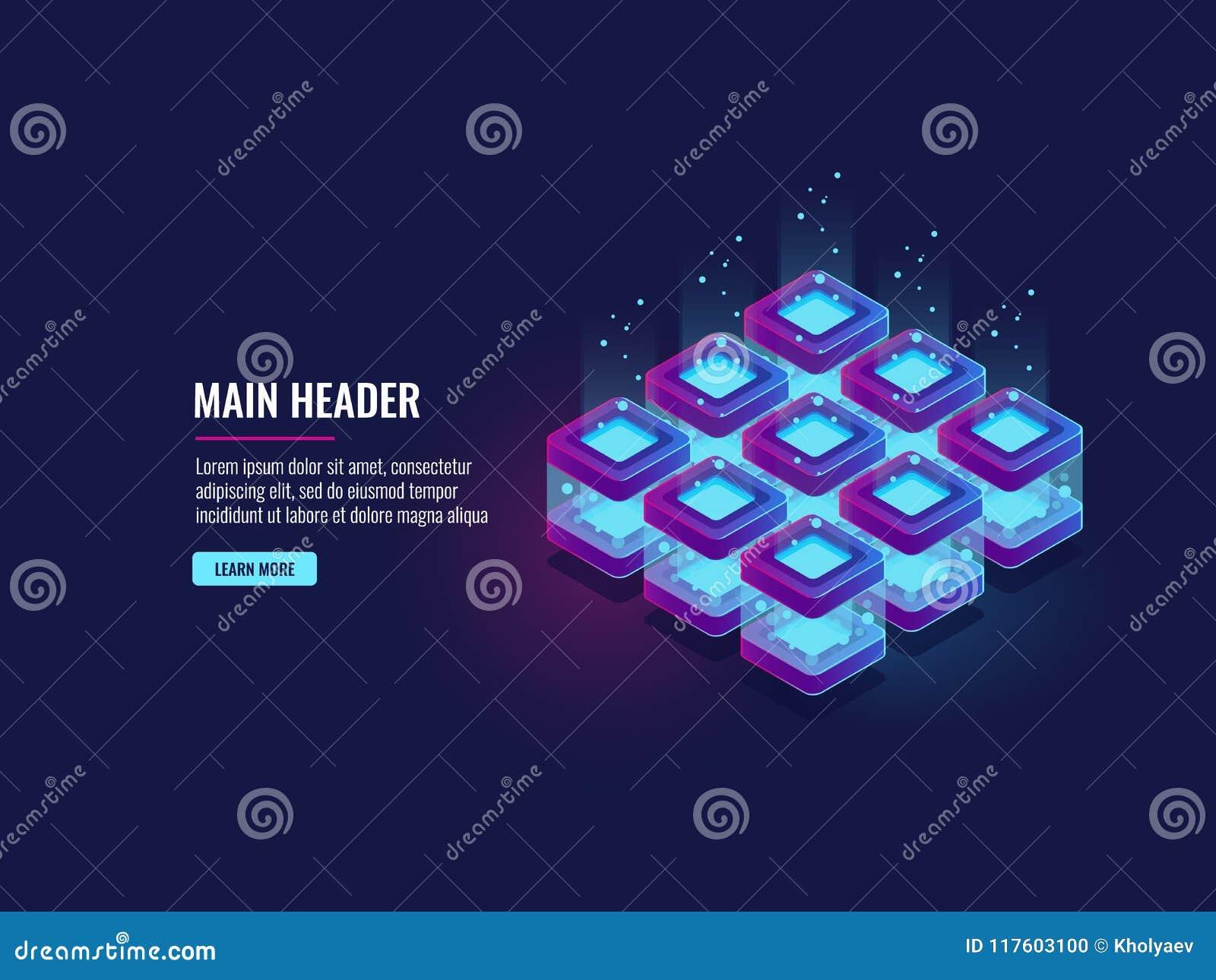 Sitio del servidor, flujo de datos y bigdata procesando el concepto, icono del almacenamiento de la nube, neón futurista de la os