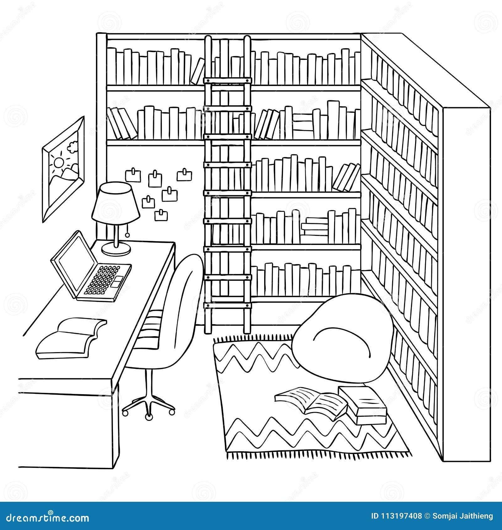 Sitio Dibujado Mano Del Estudio O De La Biblioteca Para El Elemento