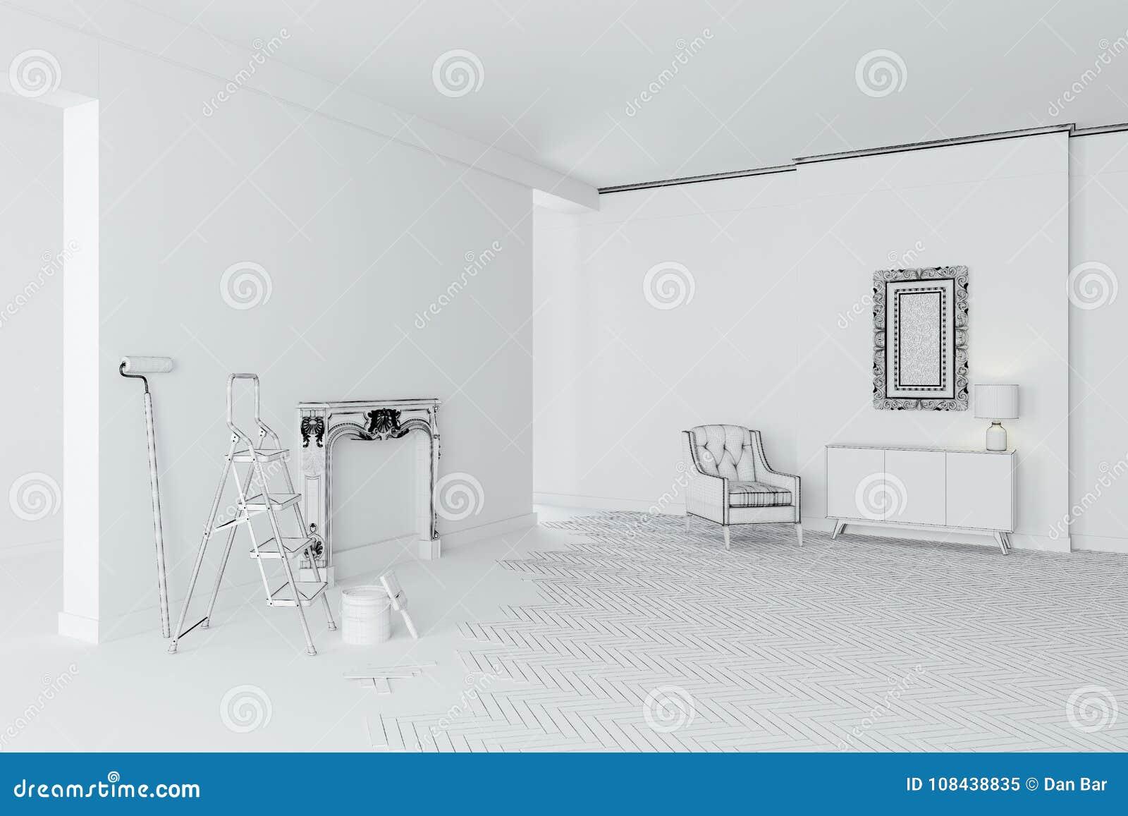 Sitio interior blanco en blanco 3d