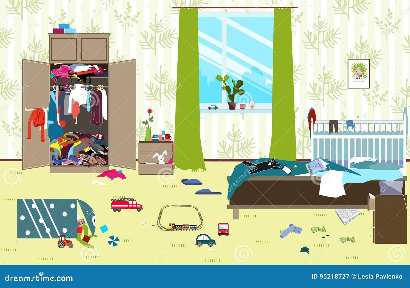 Sitio sucio en donde vive la familia joven con el pequeño bebé Sitio desordenado Lío de la historieta en el cuarto Juguetes dispe