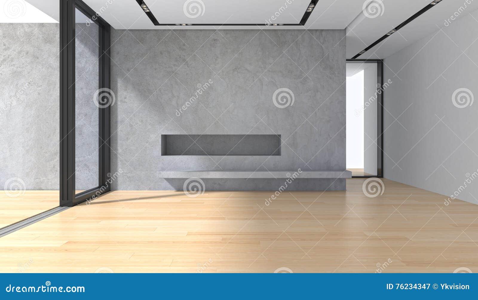 Sitio vacío con el piso de entarimado del muro de cemento y la ventana panorámica
