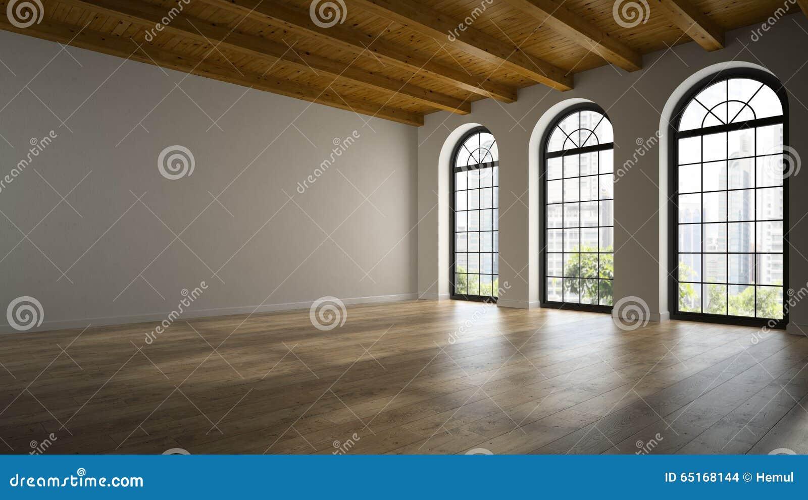 Sitio vacío del desván con las ventanas 3D del arco que rinden 2