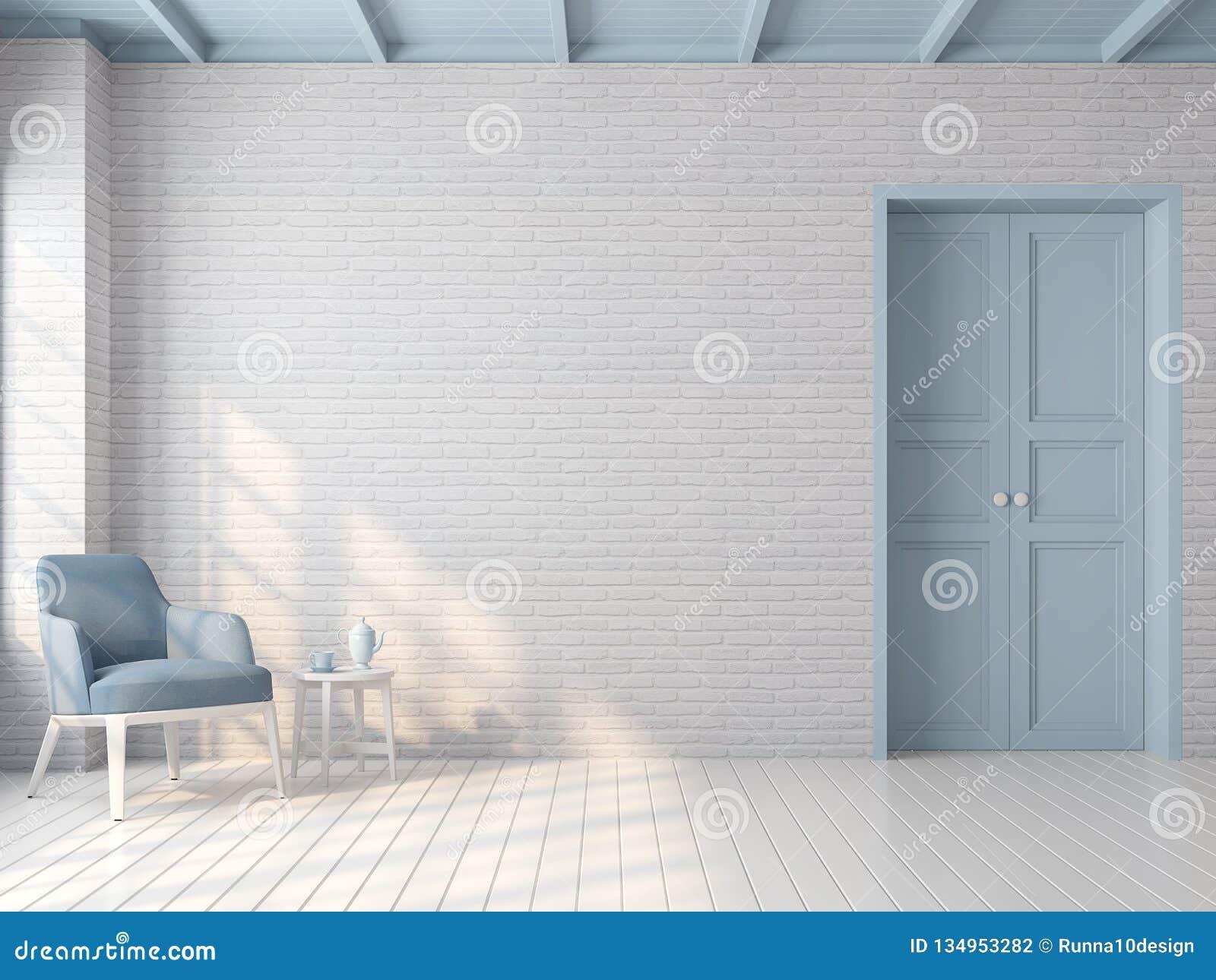 Sitio vacío del vintage con el color en colores pastel azul 3d rendir