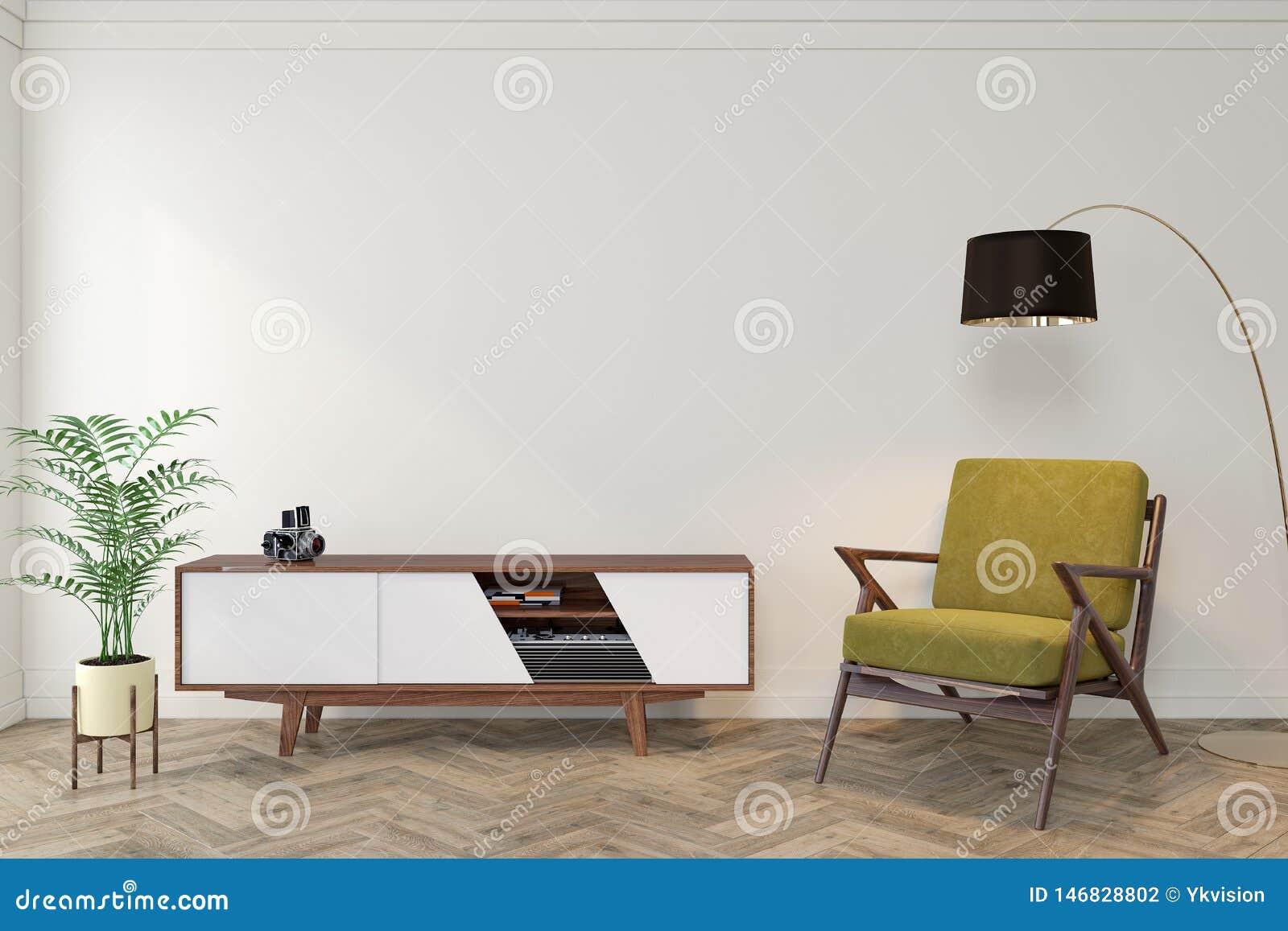 Sitio vacío interior moderno de los mediados de siglo con la pared blanca, aparador, consola, sillón amarillo, butaca