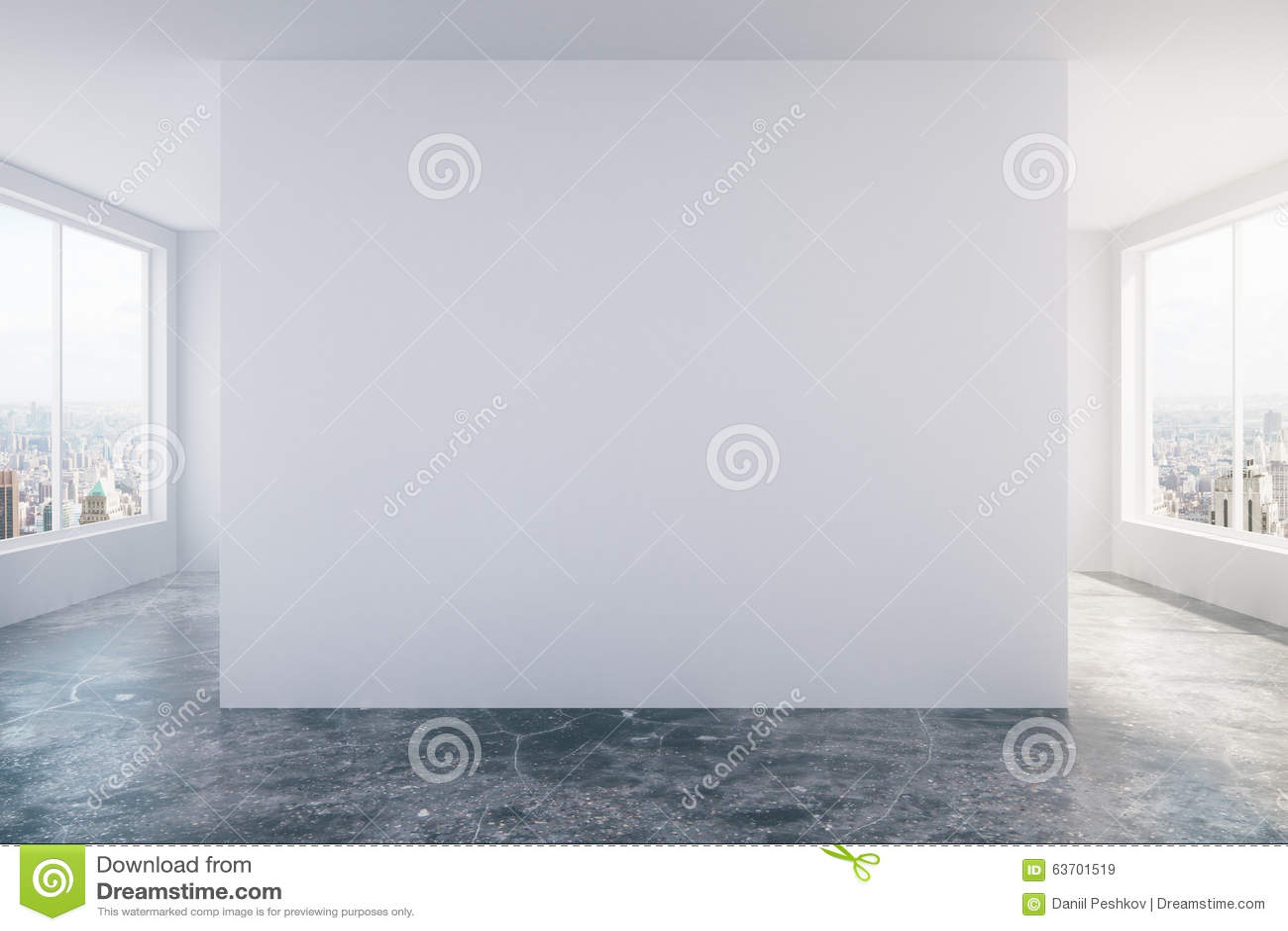Sitio vacío moderno del desván con la pared blanca, el piso concreto y w grande