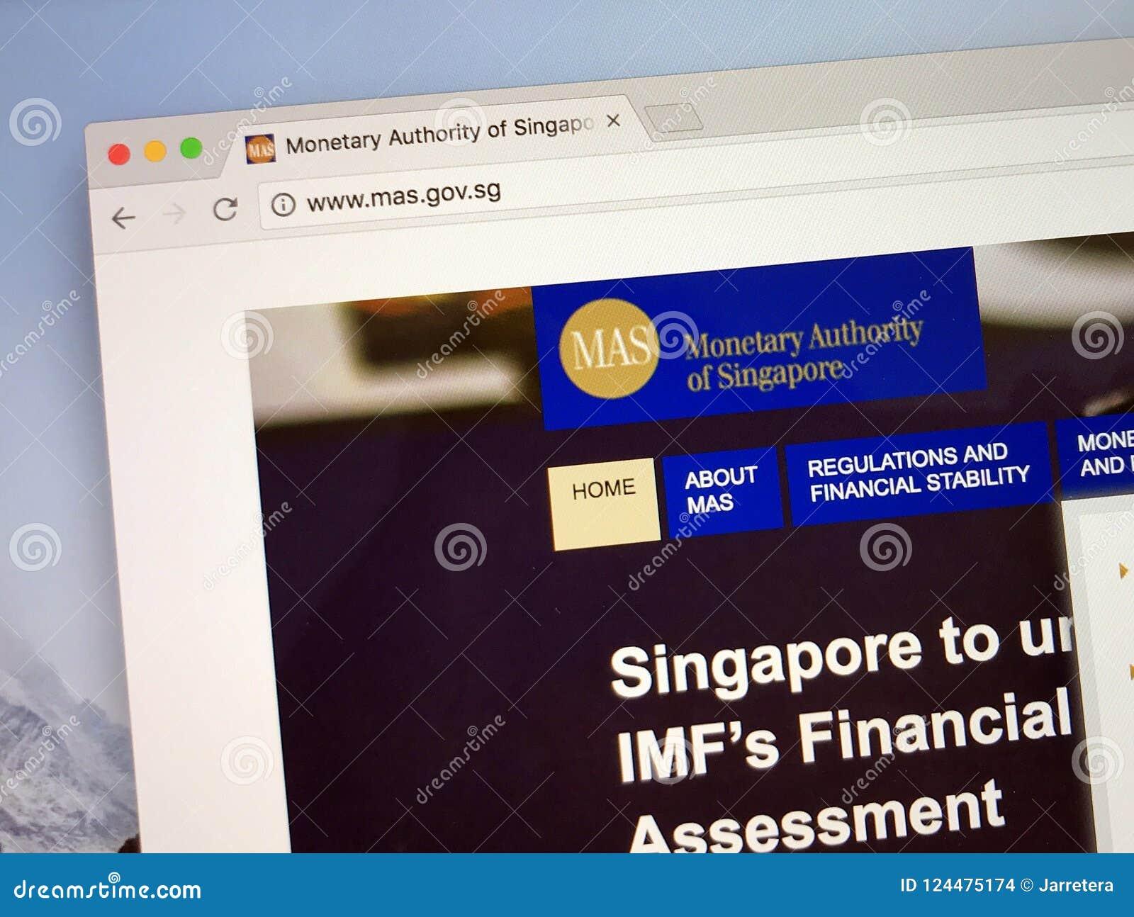 Sitio web de la autoridad monetaria de Singapur