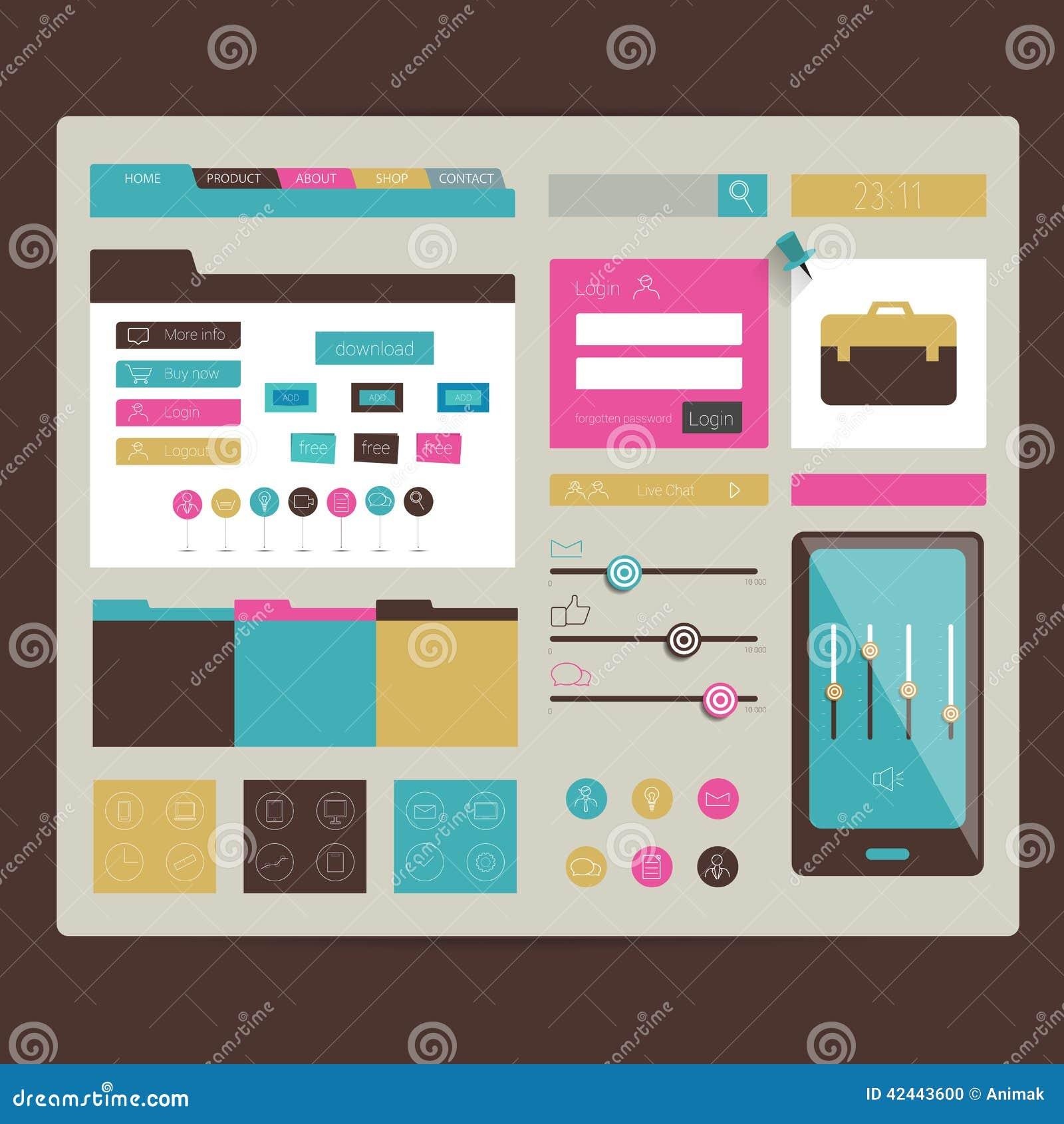 Sitio web Elementos planos del diseño