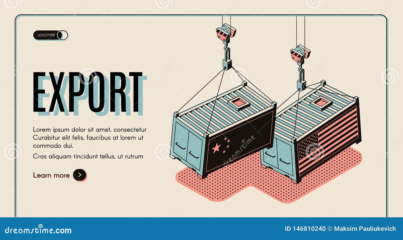 Sito Web di vettore dell esportazione delle merci dei paesi stranieri