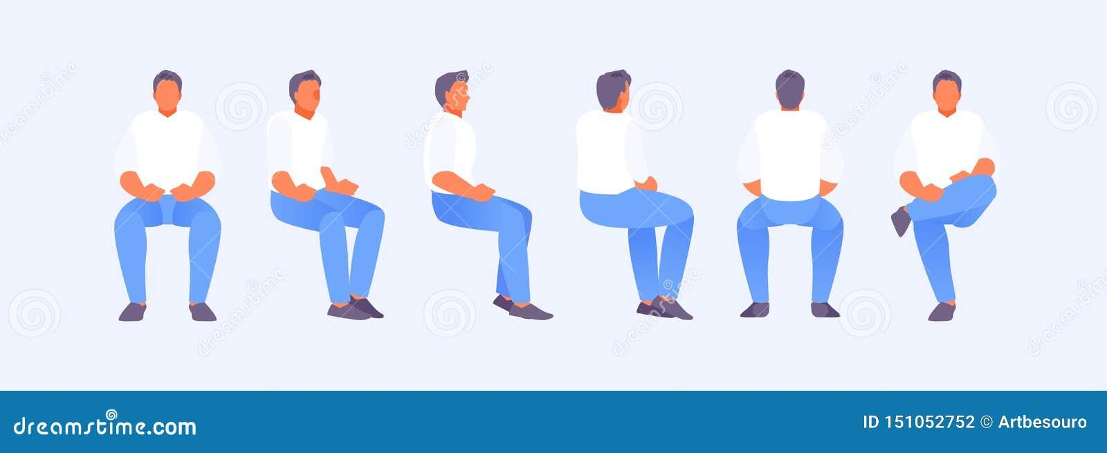 Sittande man från olika sidor