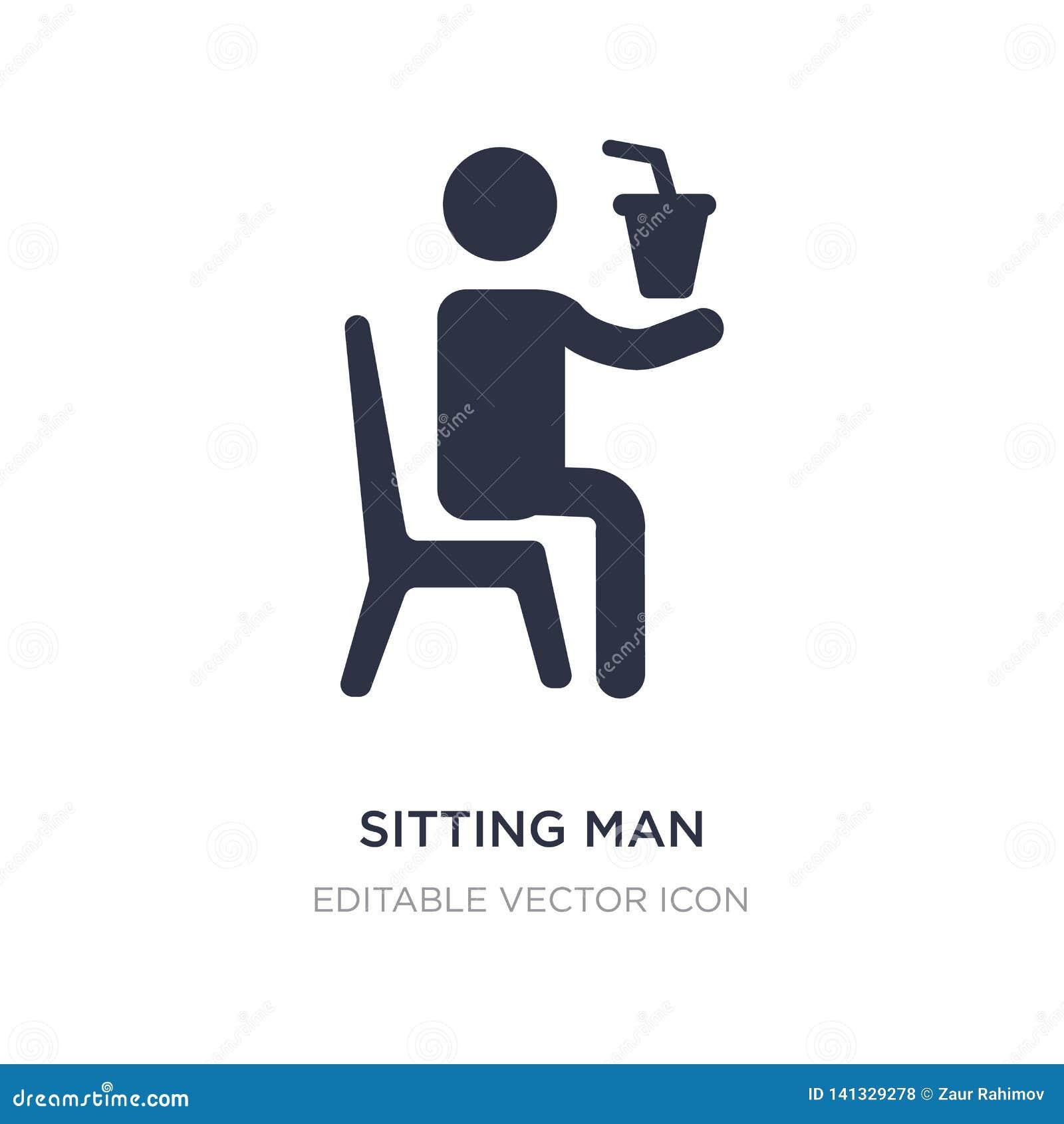 Sittande man som dricker en sodavattensymbol på vit bakgrund Enkel beståndsdelillustration från folkbegrepp