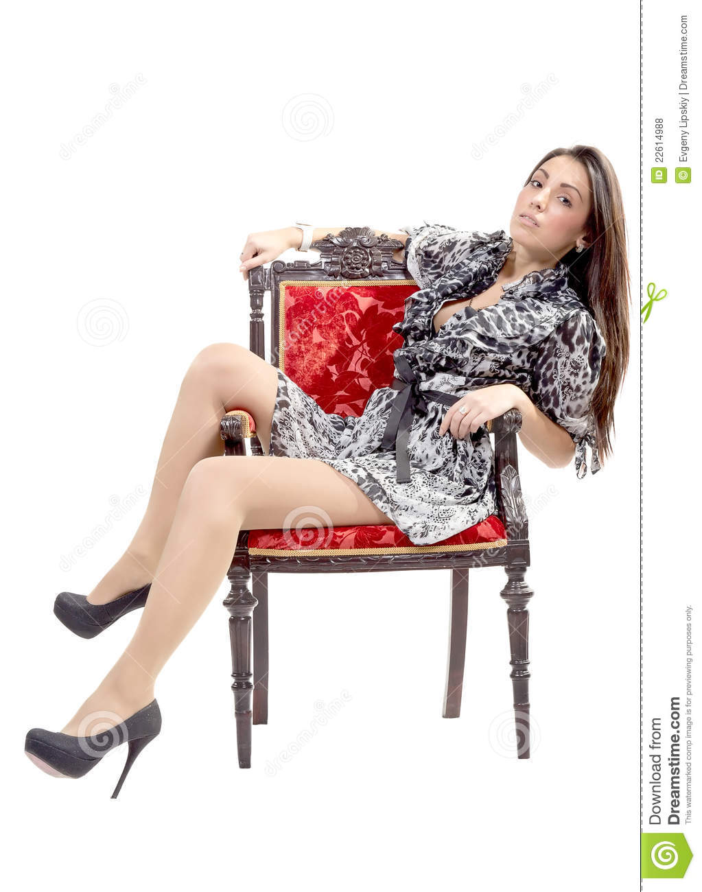 She is sitting on armchair royalty free stock photos for Sitting in armchair