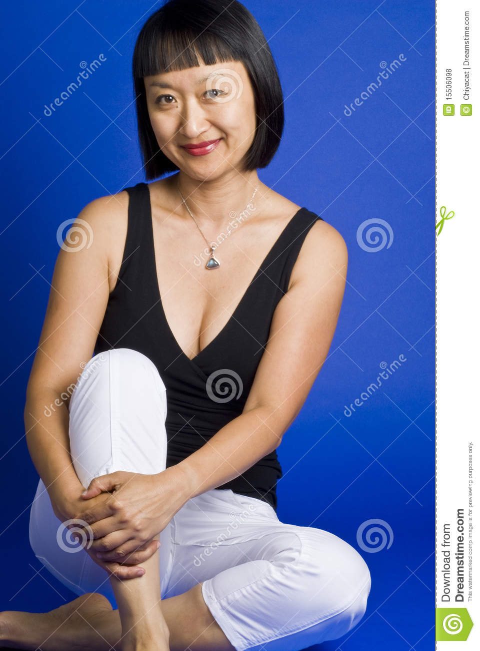 8cf956292b2e8 Sitting Asian Woman With Short Hair And Smiling Stock Photo - Image ...