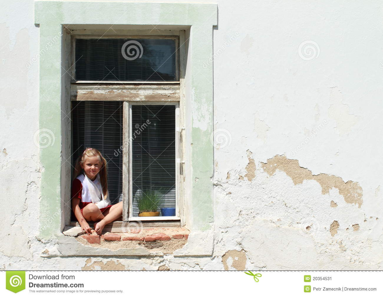 Sitting Barefeet Girl In A Window With Broken Hand Stock
