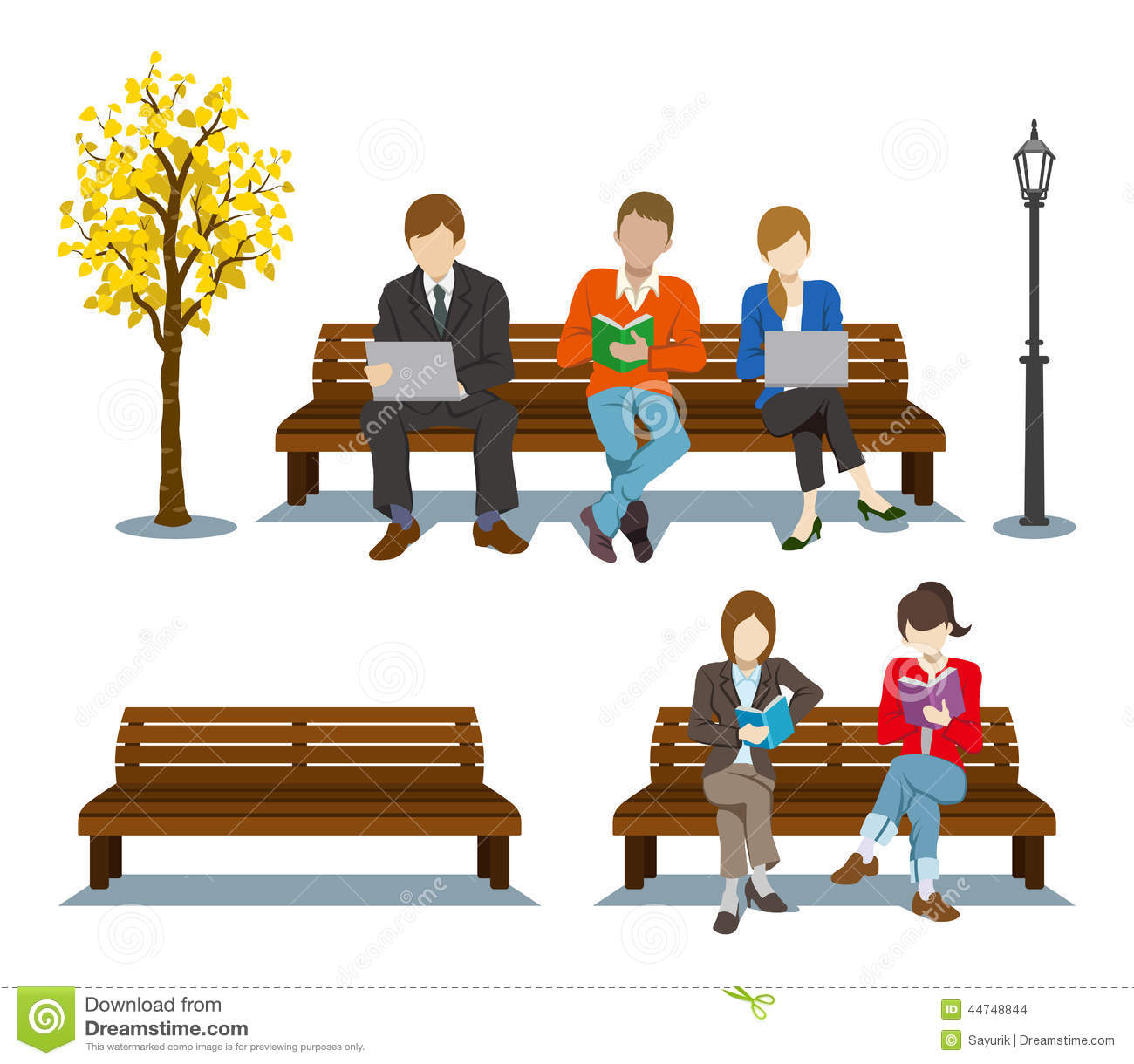 sitting bench various people vector illustration 44748844
