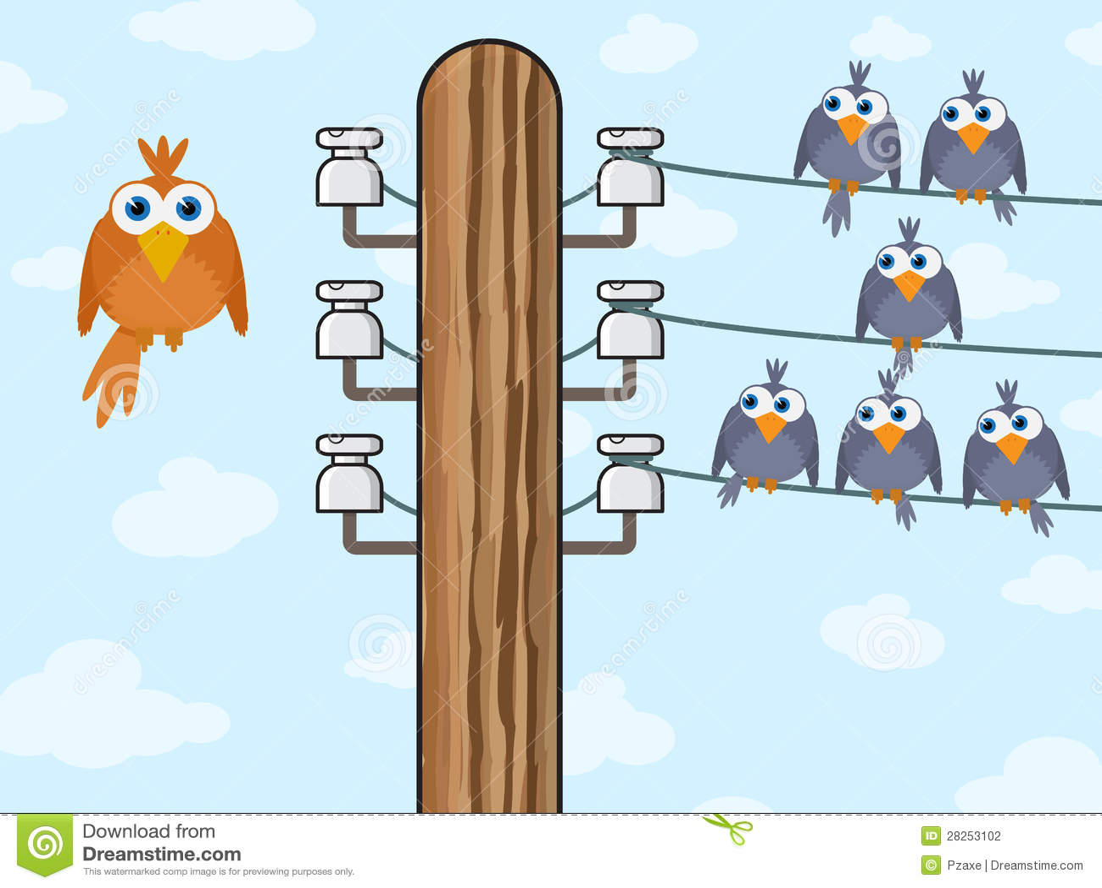 Sitting Birds Symbolize Wireless Technology Stock