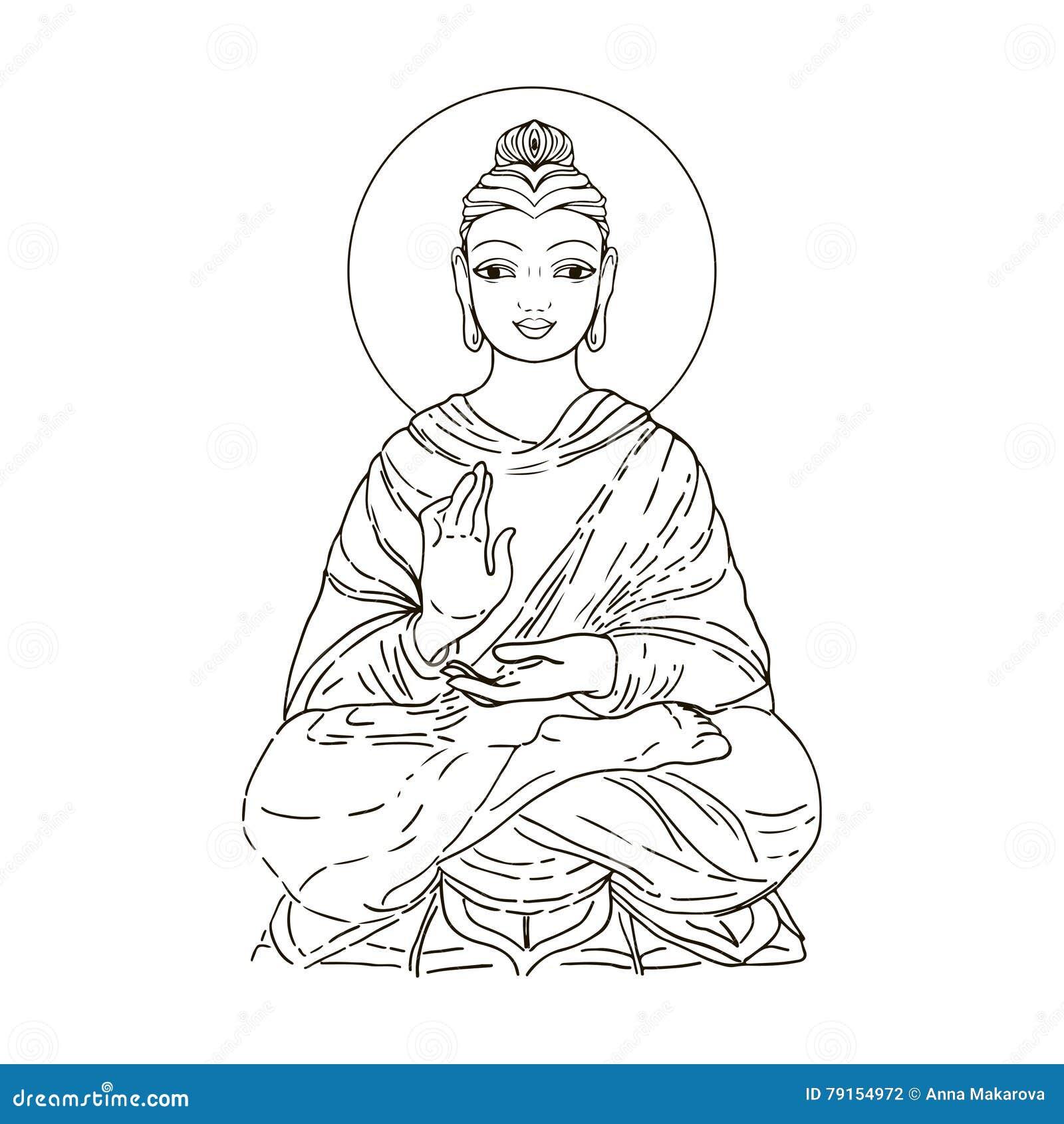 d2b0633e83a18 Sitting Buddha isolated on white. Esoteric vintage illustration. Indian,  Buddhism, spiritual art