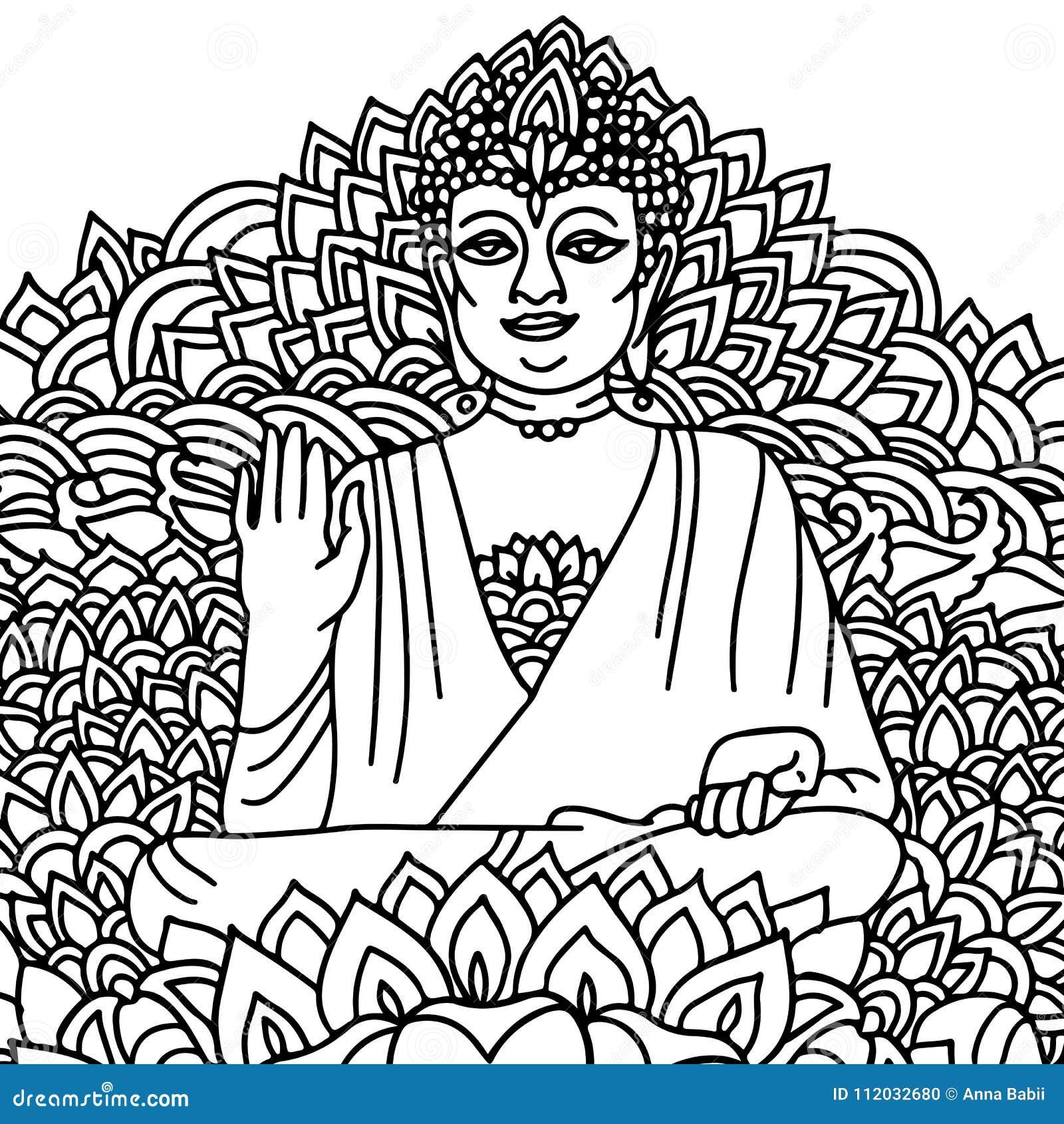 Sitting Buddha In A Lotus Flower Mandala Style Print Vector