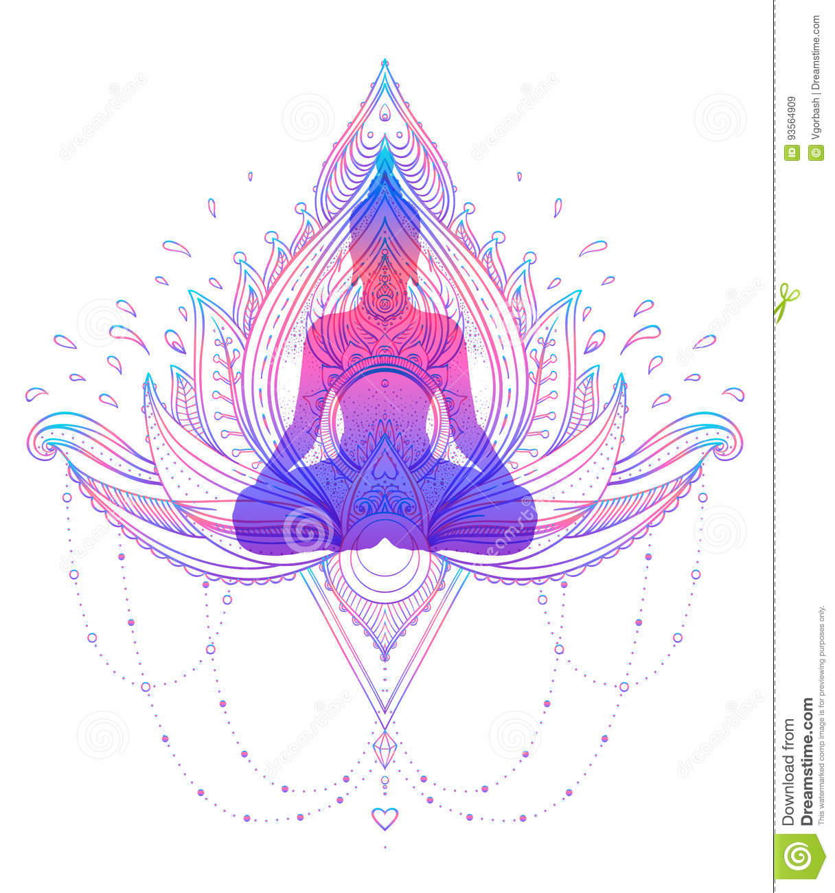 Sitting Buddha Silhouette Over Ornamental Lotus Flower Esoteric