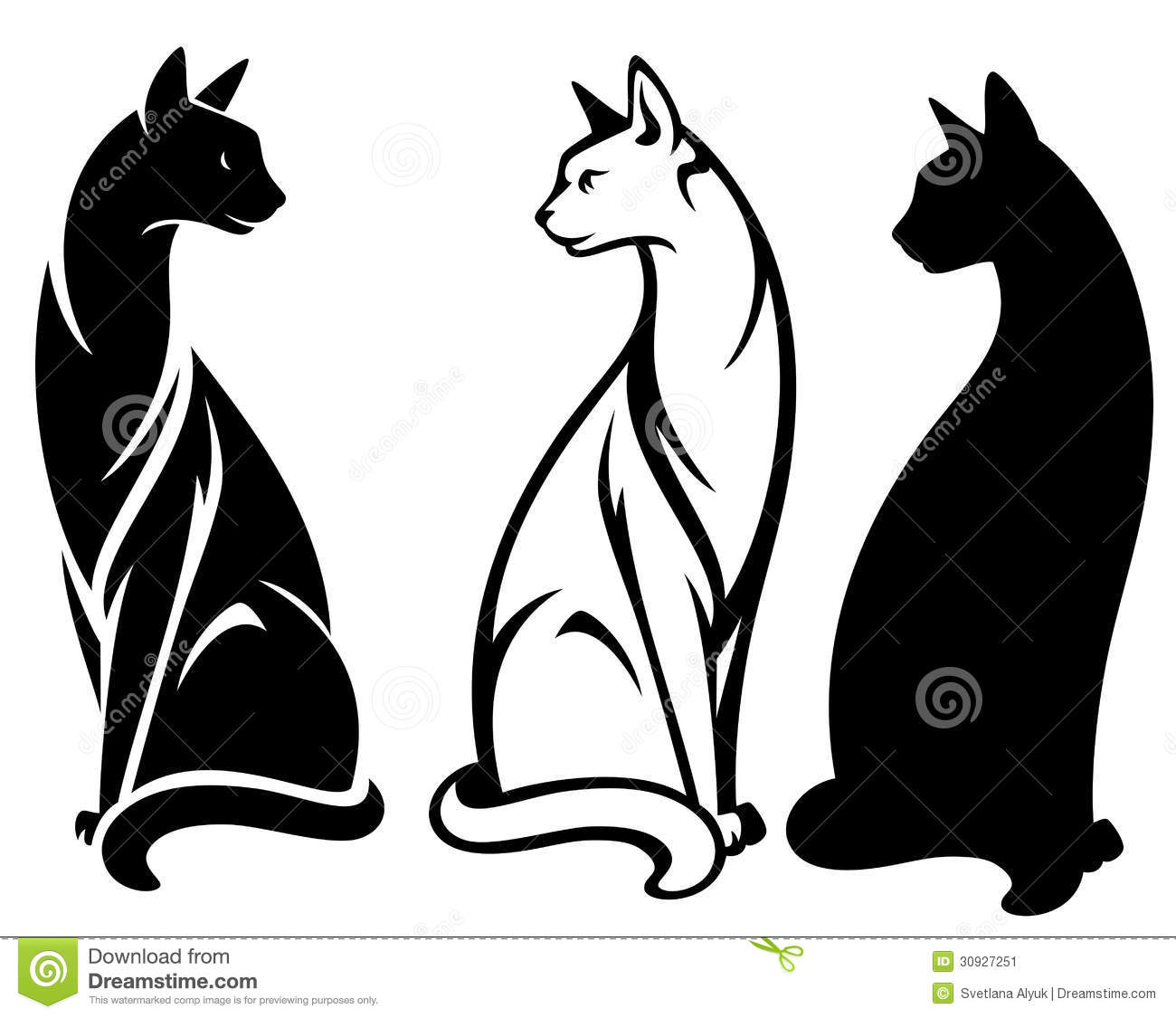 Elegant sitting cats design - black and white outlines and silhouette.
