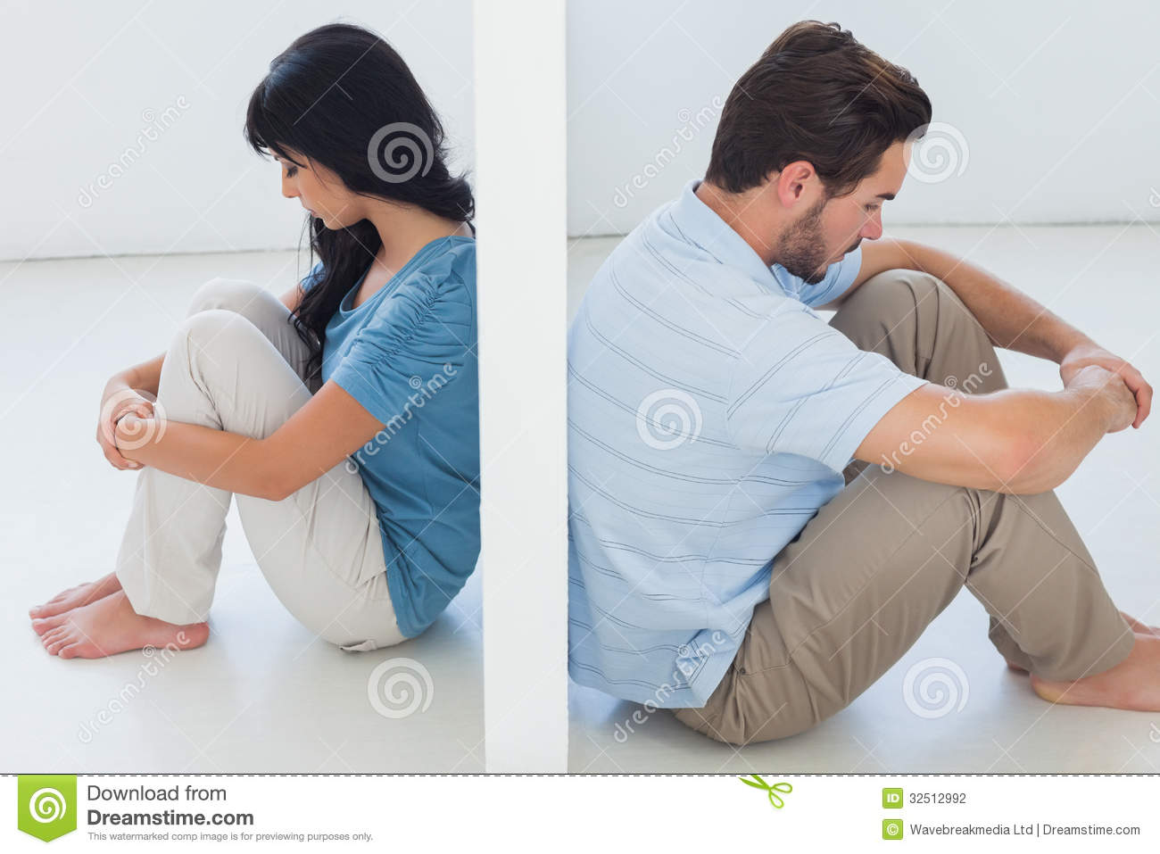 sitting couple are separated by white wall stock photography image 32512992. Black Bedroom Furniture Sets. Home Design Ideas