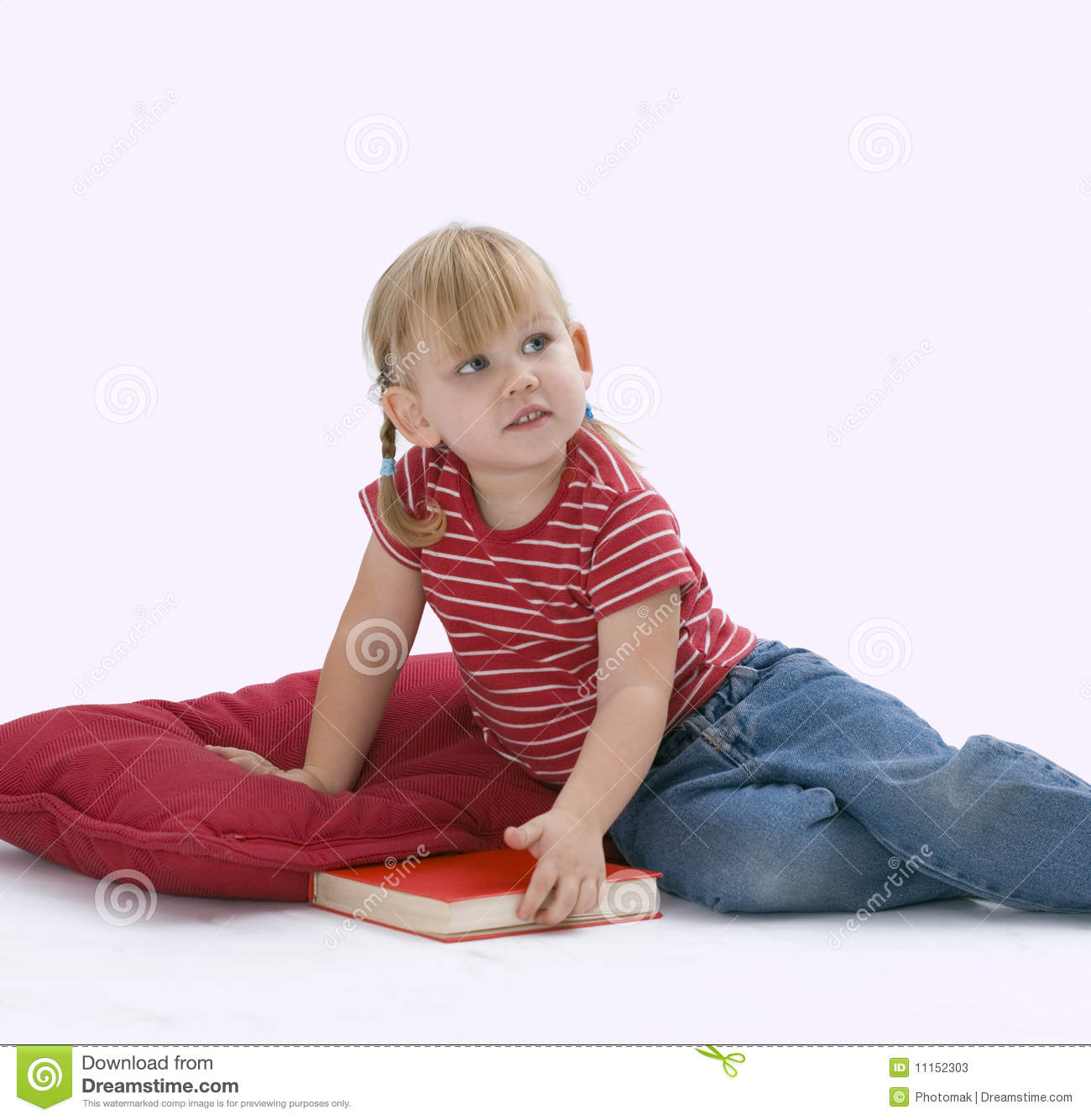 Pillows To Sit On The Floor : Sitting On Floor, On Red Pillow Little Girl Stock Photos - Image: 11152303