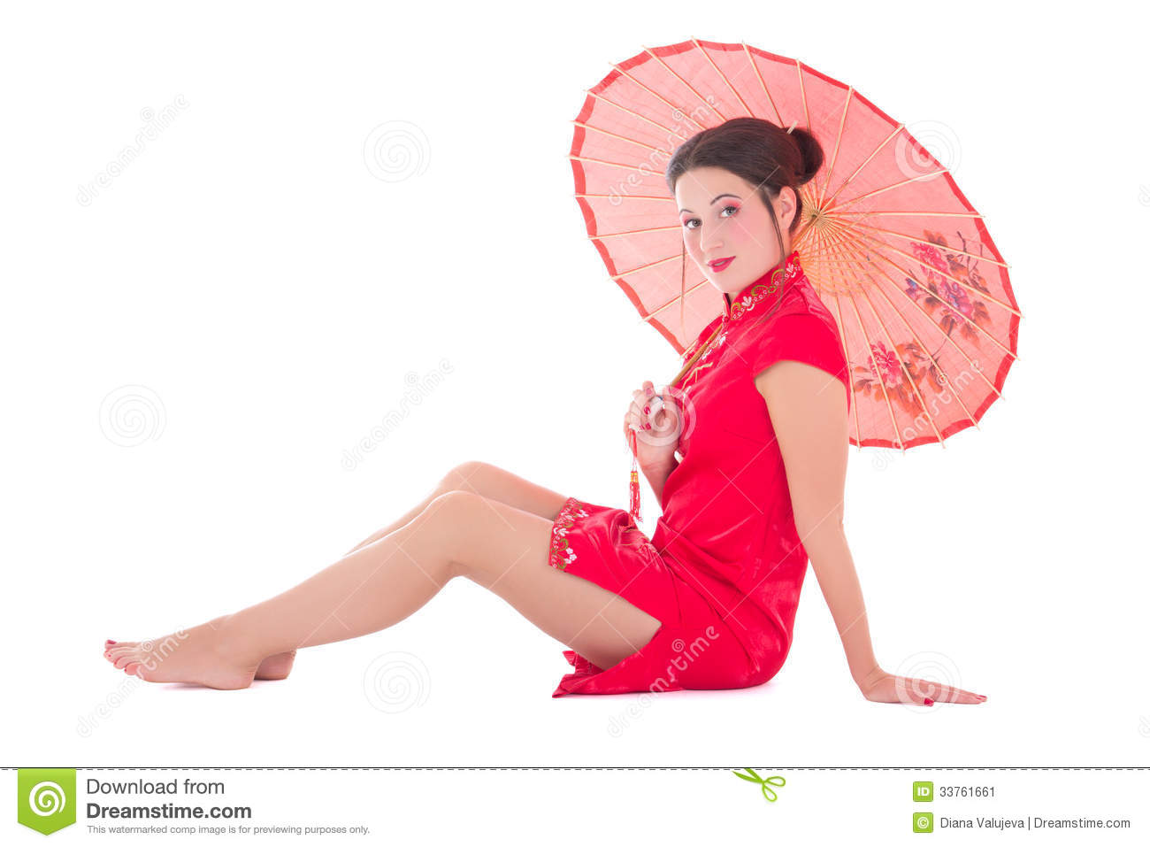 Sitting Girl In Red Japanese Dress With Umbrella Isolated