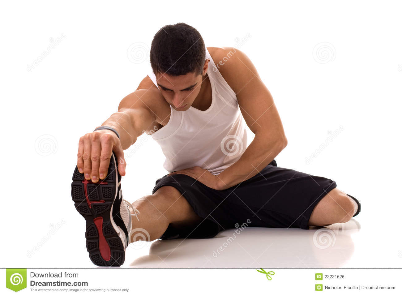 Sitting Hamstring Stretch Royalty Free Stock Image - Image: 23231626
