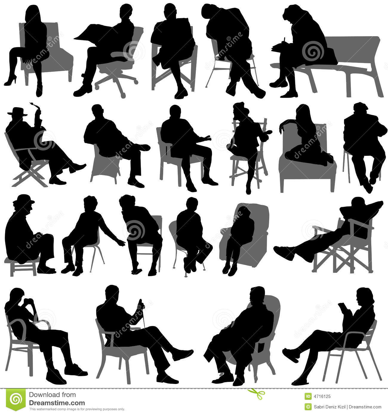 Sitting People Vector ...