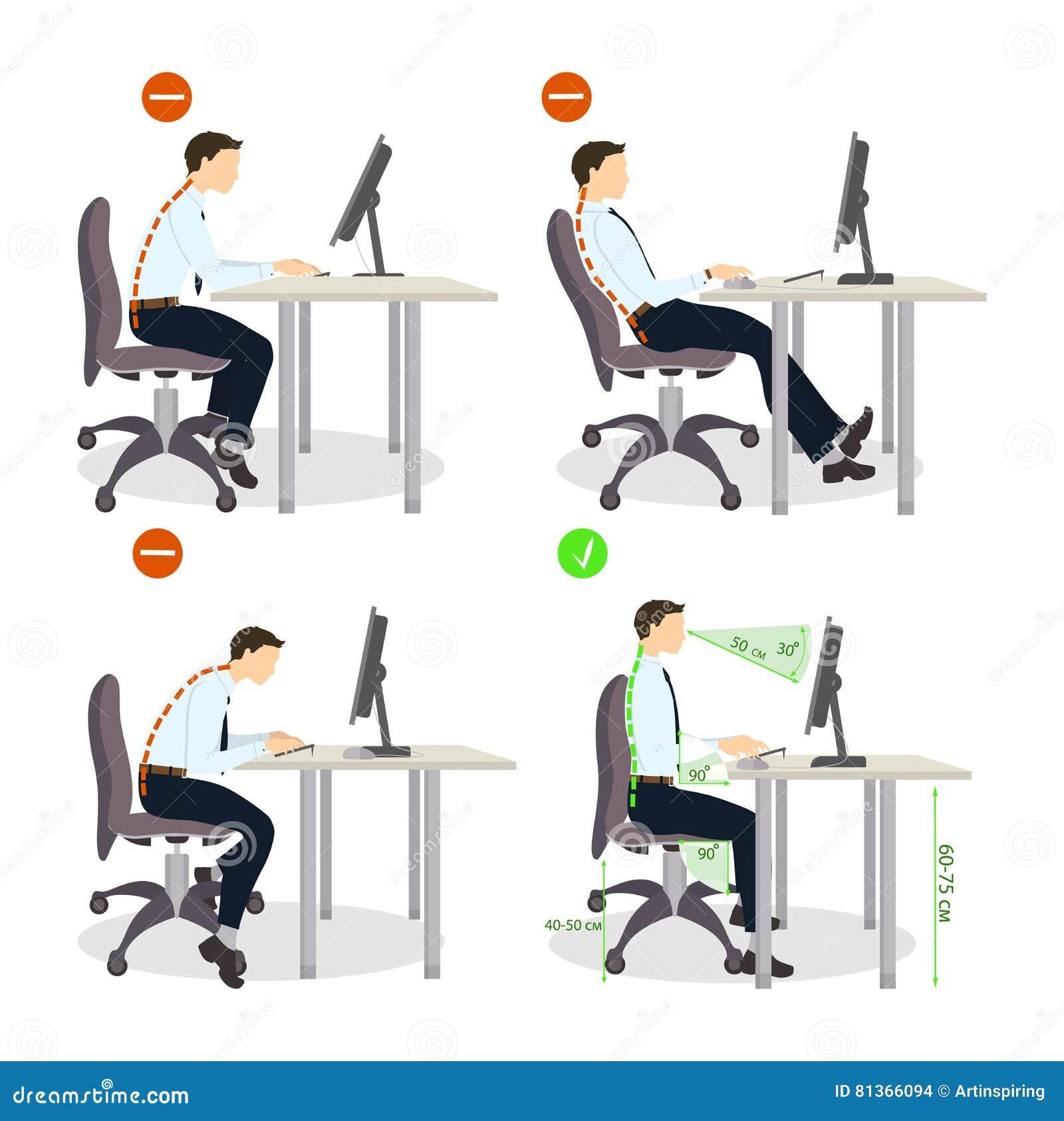 Sitting posture set. stock vector. Image of background ...