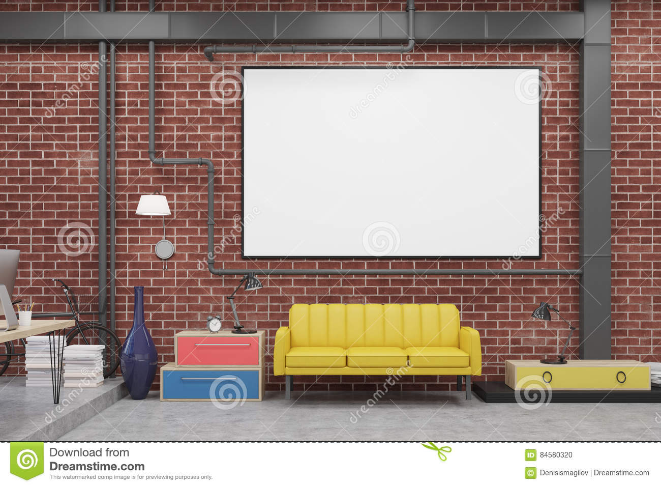 Sitting Room With Sofa And Whiteboard Stock Illustration