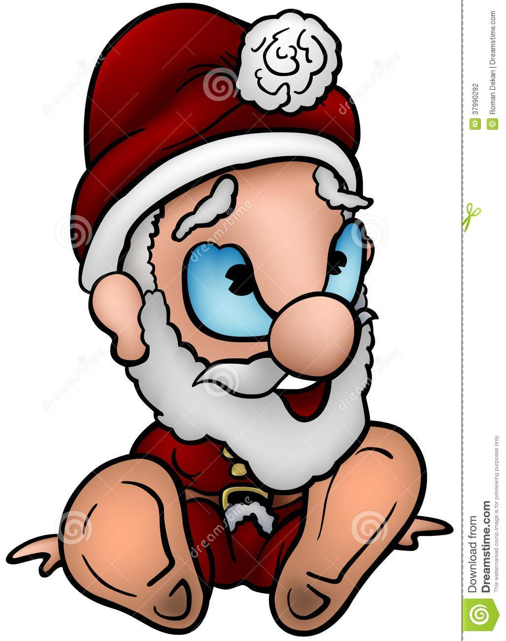 Sitting Santa Claus - Colored Cartoon Illustration, Vector.