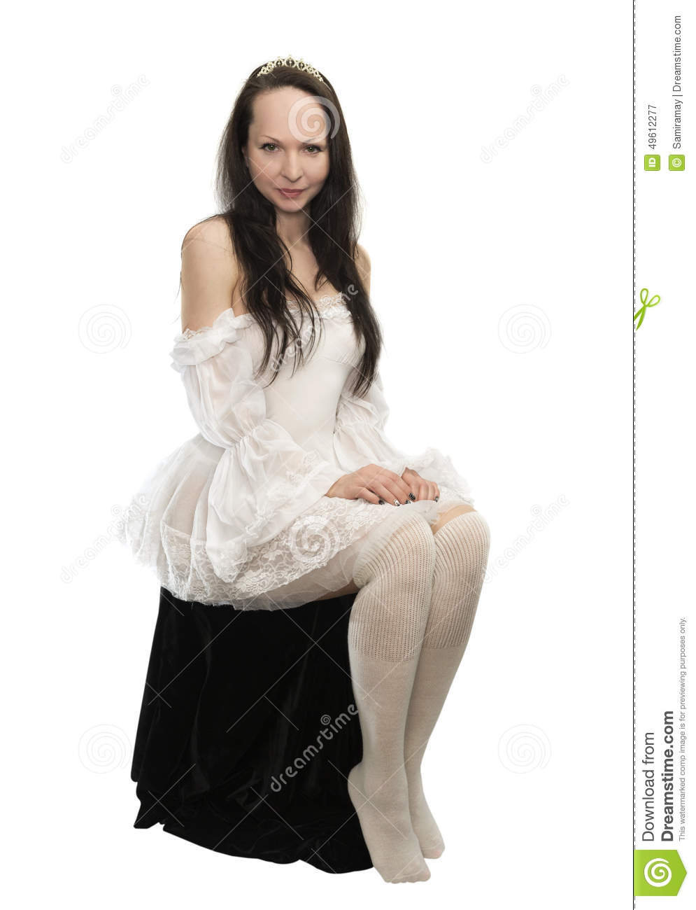 Sitting Young Woman Wearing Crown And White Dress Stock ...