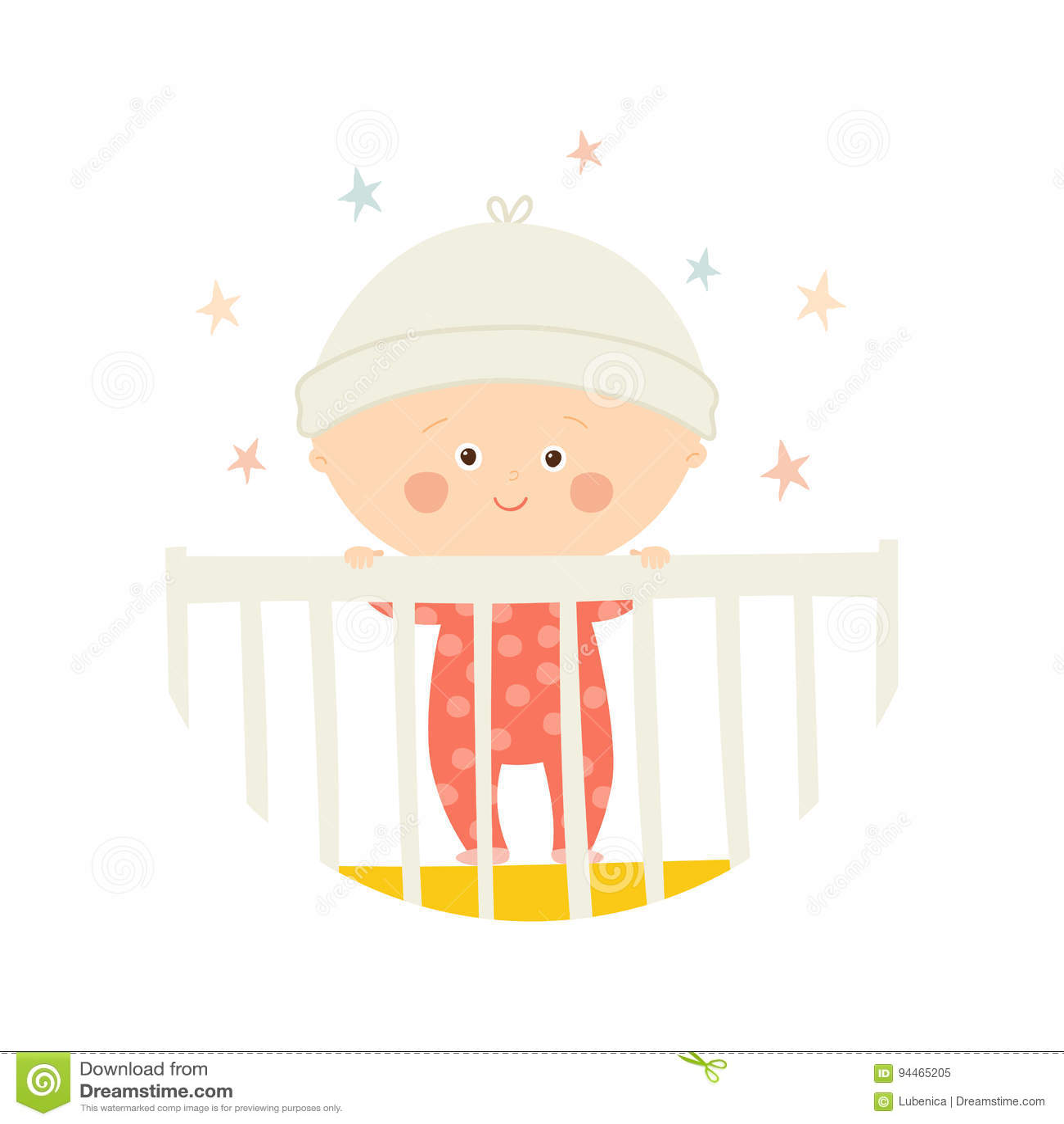 Situación de 1 año del bebé lindo en pesebre Elemento del diseño de la  fiesta de 896e155c5db5