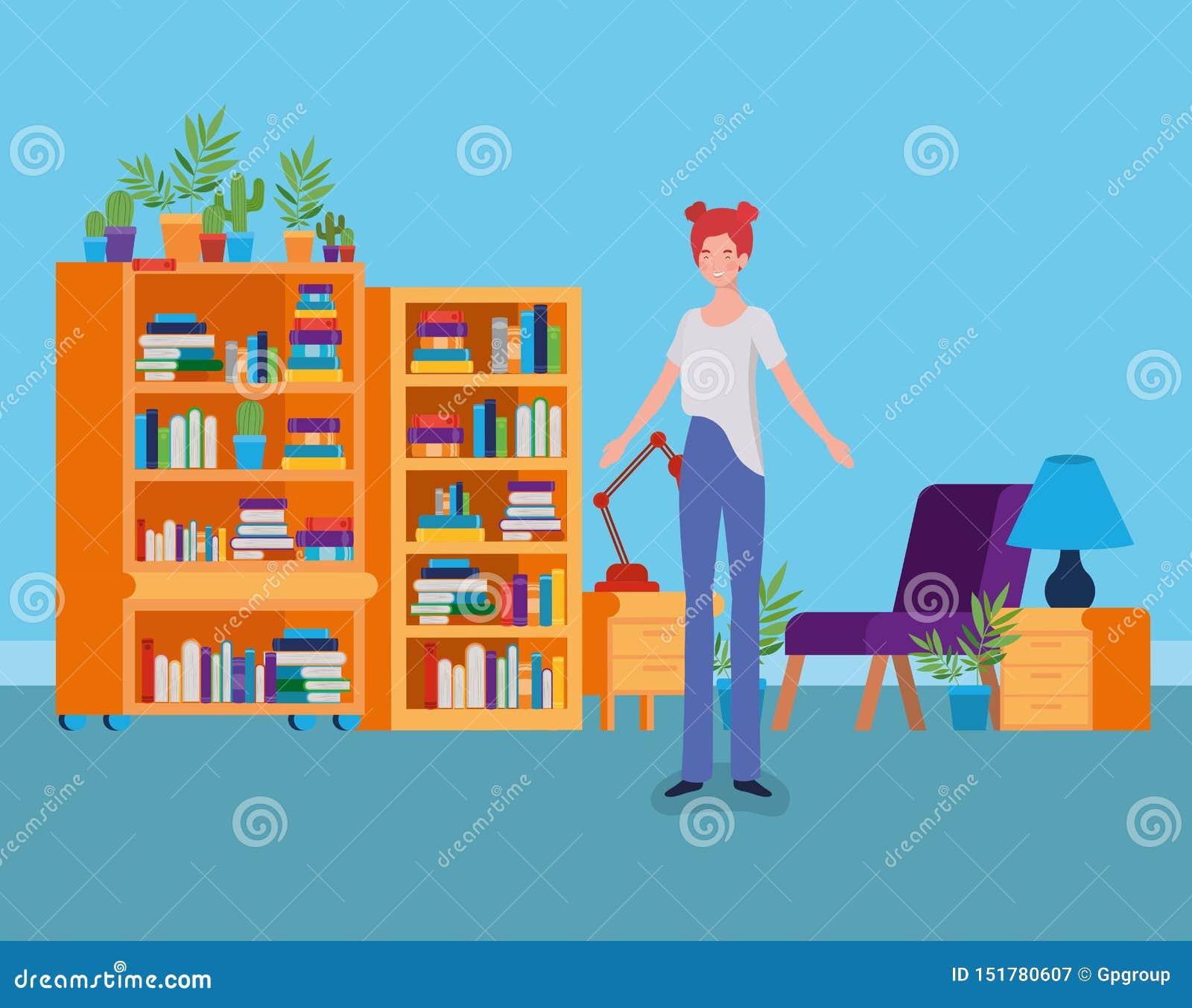 Situación de la mujer joven en el cuarto de la biblioteca