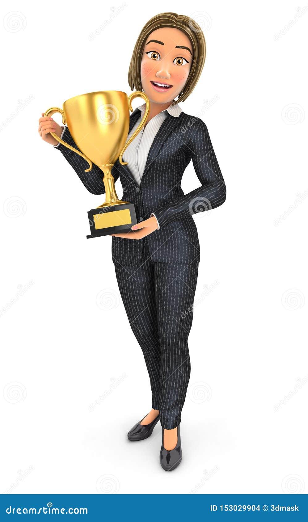 Situación de la mujer de negocios 3d con la taza del trofeo del oro