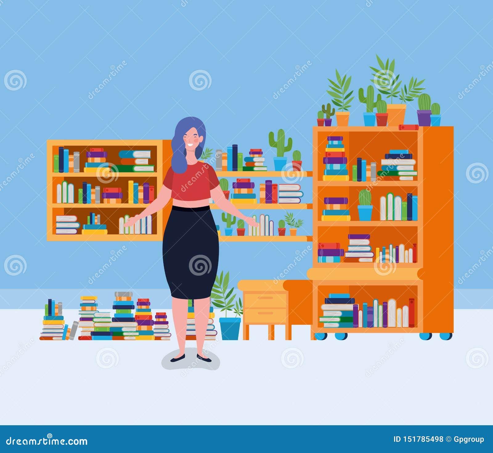 Situación gorda joven de la mujer en el cuarto de la biblioteca
